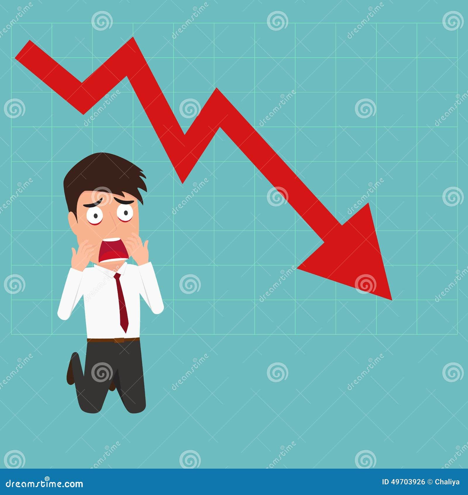 Zakenman het tonen beduimelt neer Onderaan tendensgrafiek maak een zakenman geschokt