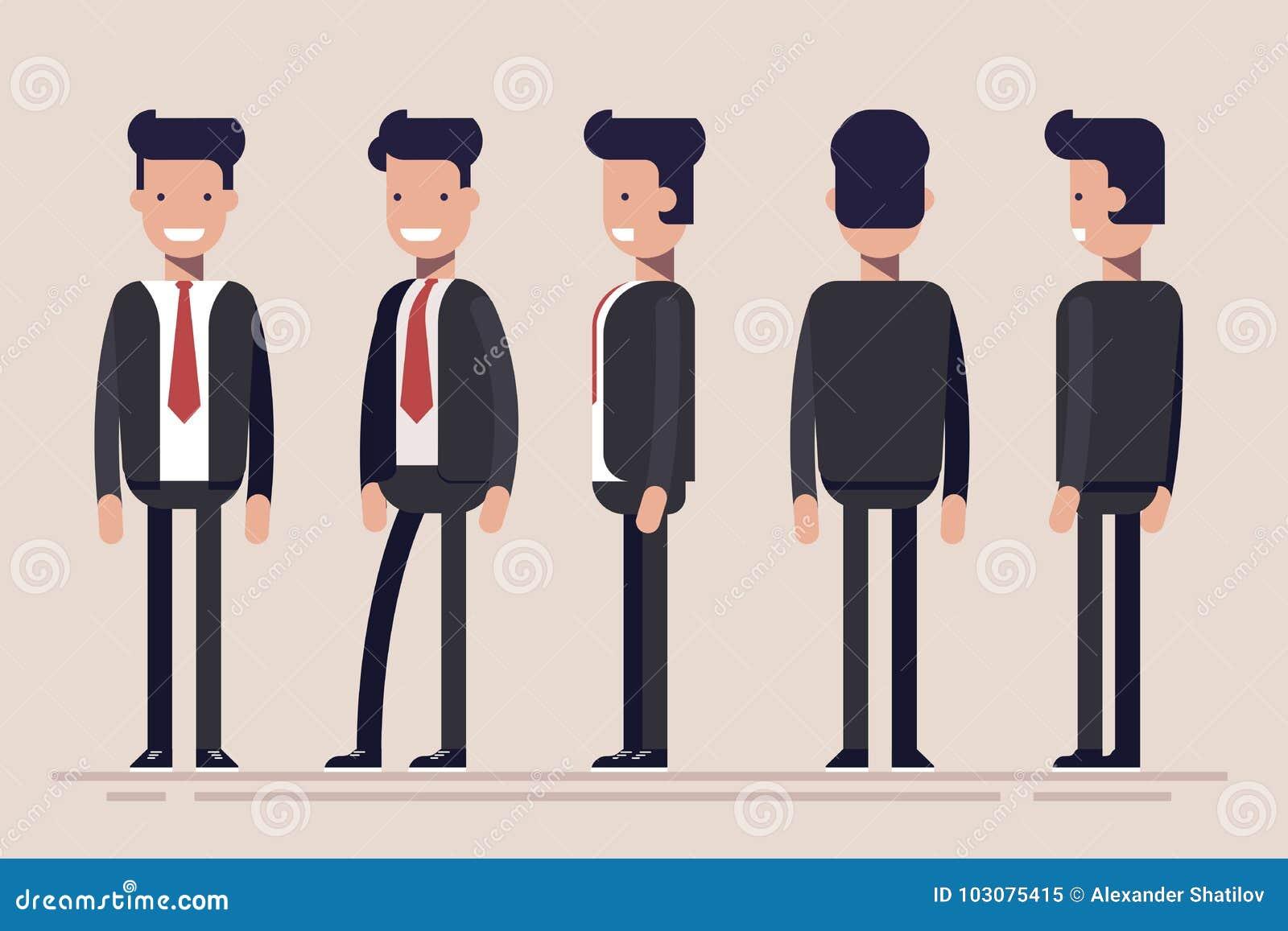 Zakenman of manager van verschillende kanten Voor, achter, zijaanzicht van mannelijke persoon Vlakke vectorillustratie in beeldve