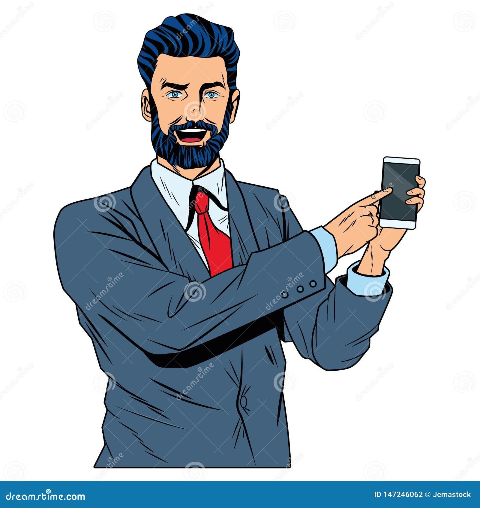 Zakenman met de telefoon van de zakenmanholding