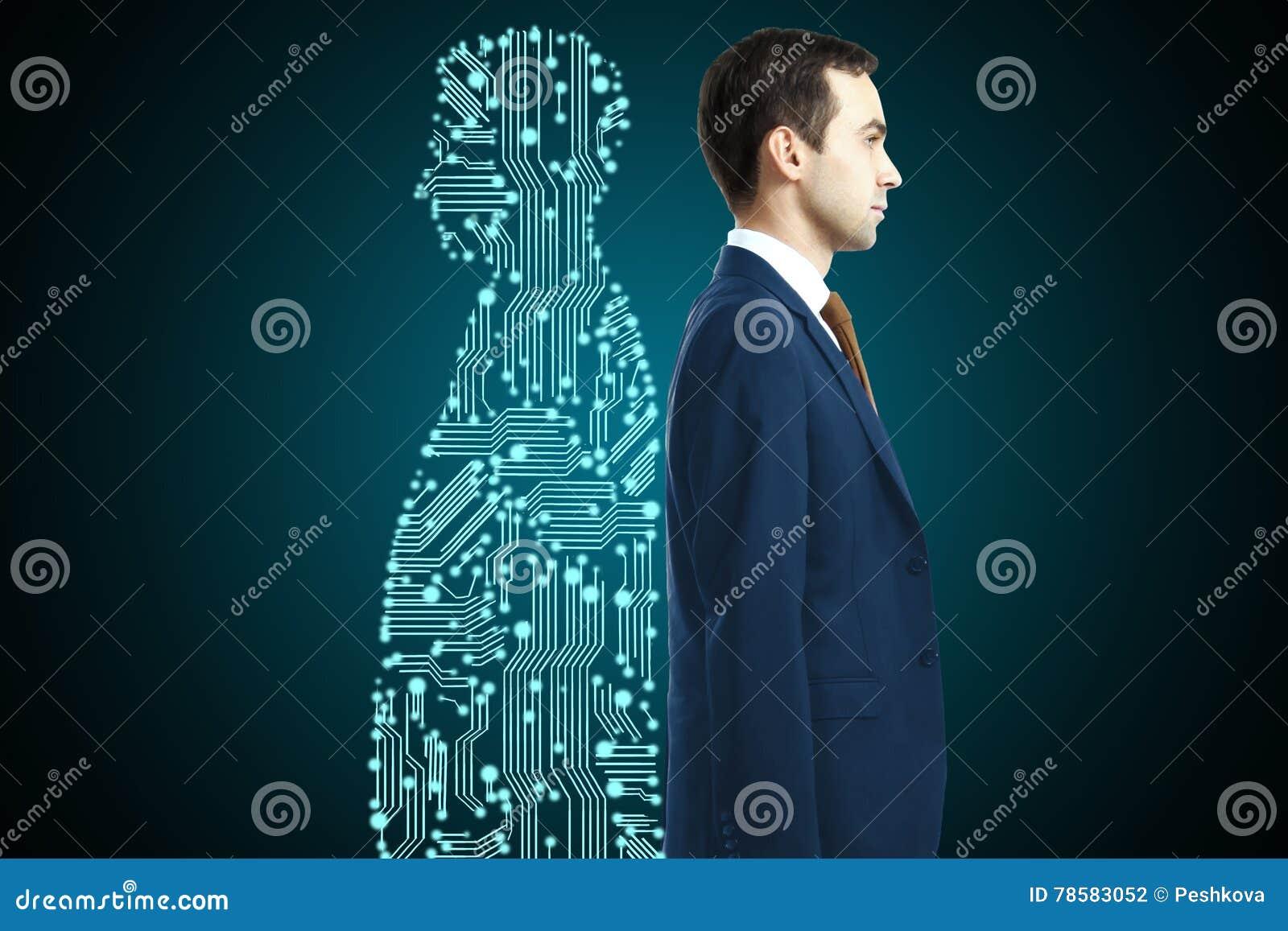Zakenman met digitale partner