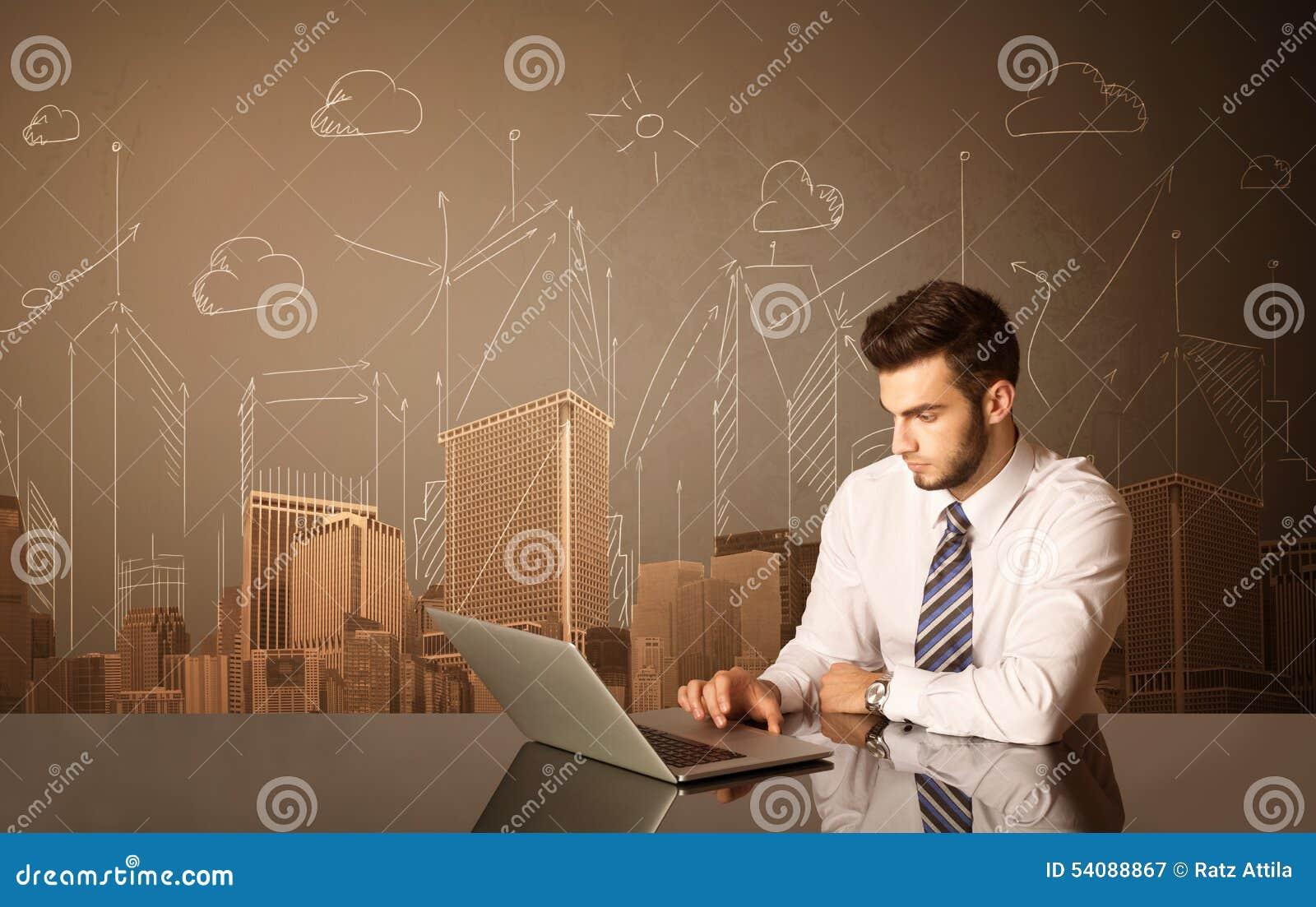 Zakenman met gebouwen en metingen