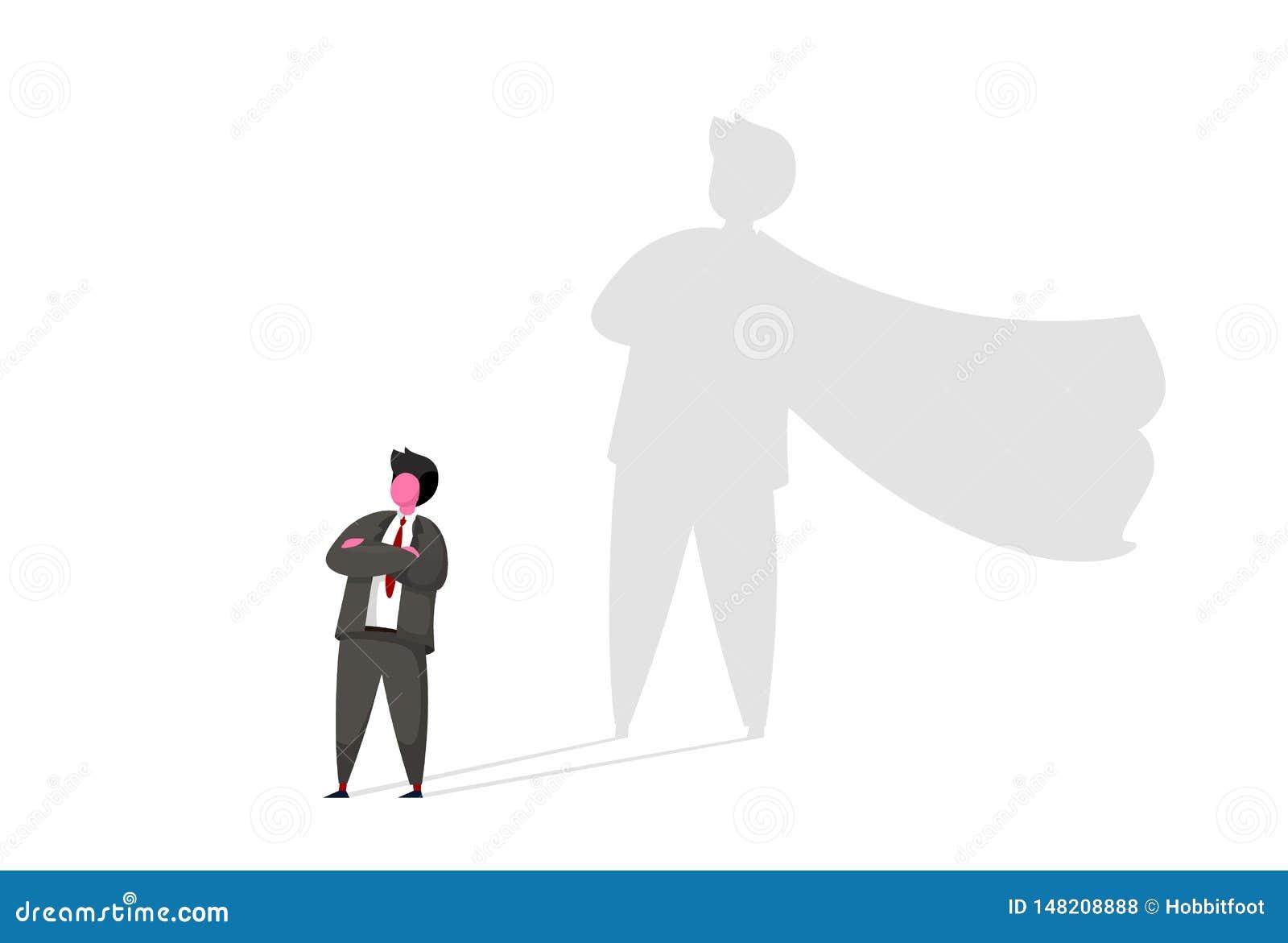 Zakenman met het vectorconcept van de superheroschaduw Bedrijfssymbool van ambitie, succes, motivatie, leiding, moed