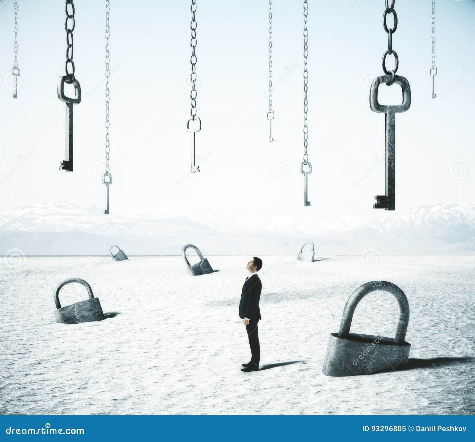 Zakenman met sloten en sleutels