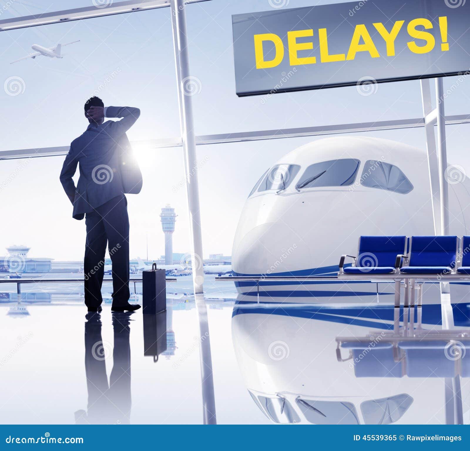 Zakenman Missing zijn Vlucht in de Luchthaven