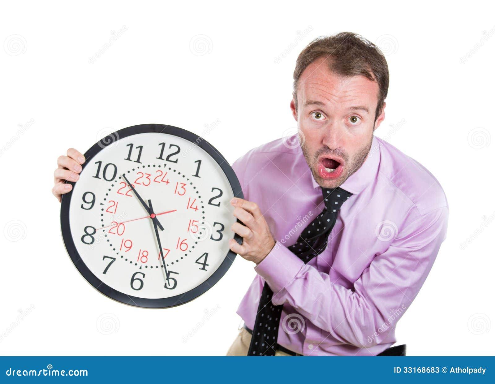 Zakenman, stafmedewerker die, leider een zeer bepaalde die klok de houden, door gebrek die aan tijd wordt gedrukt, uit van tijd, l