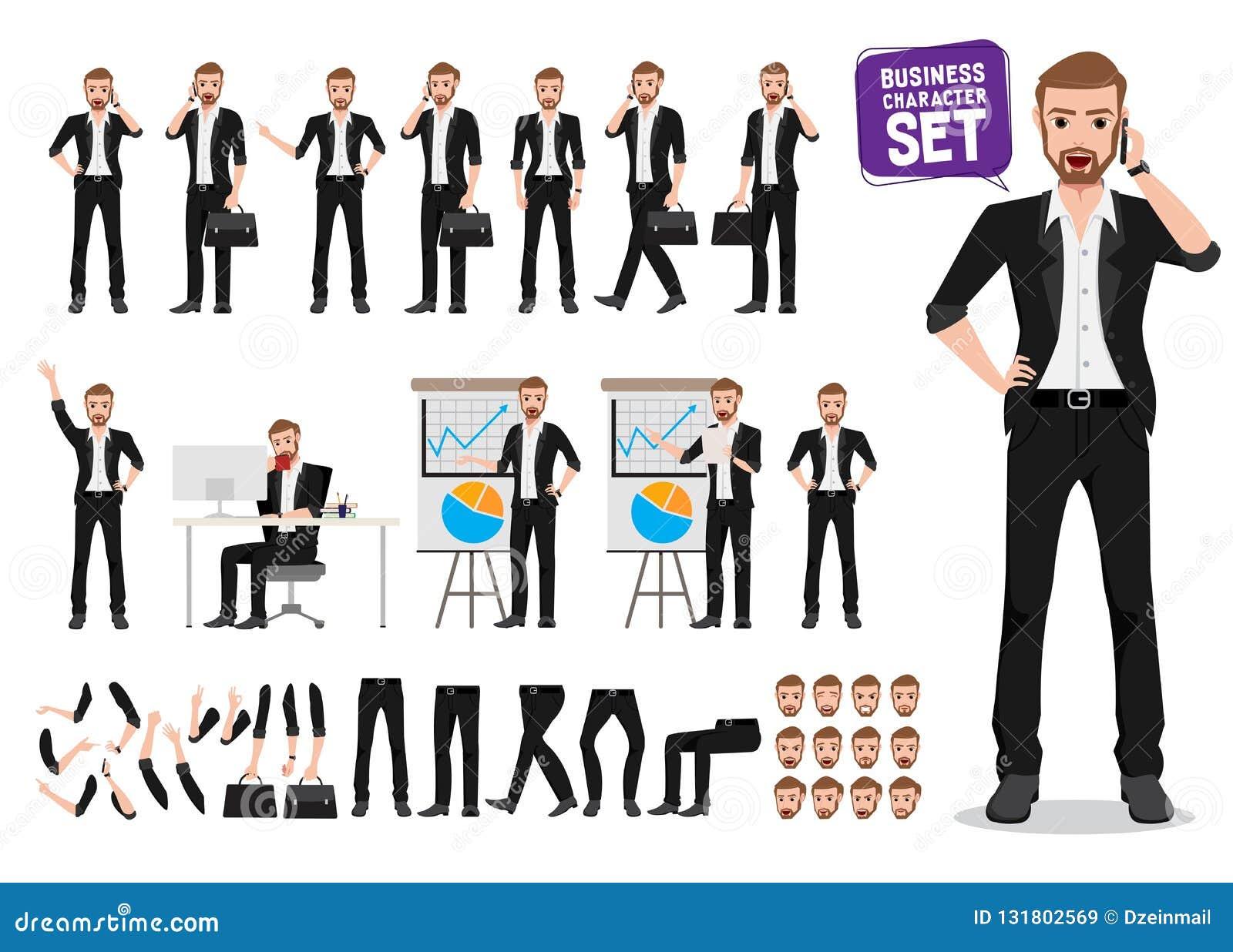 Zakenman Vector Character Set Mannelijke het karakterverwezenlijking van het bedrijfspersoonsbeeldverhaal