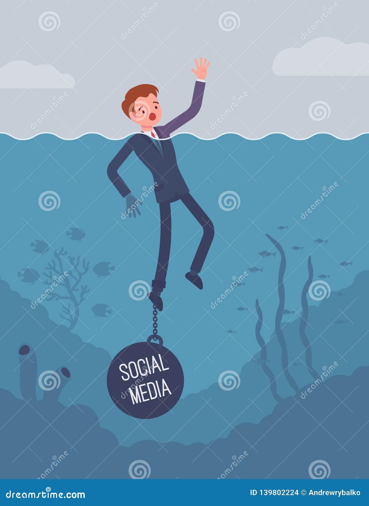 Zakenman verdrinking geketend met een gewichts Sociale Media