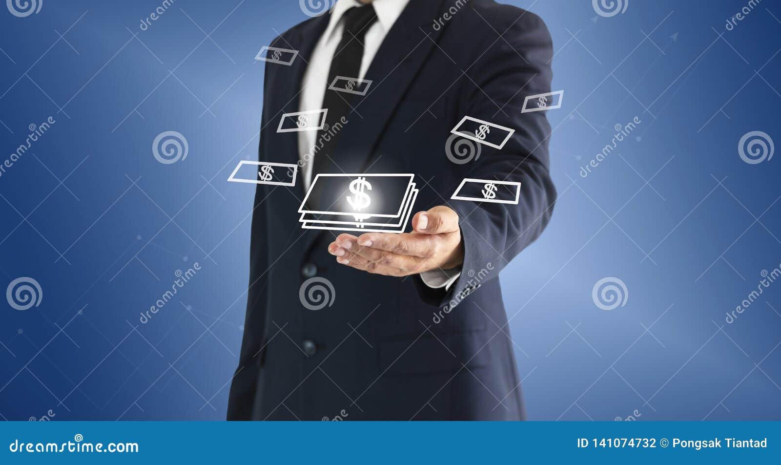 Zakenman wat betreft geld virtuele knoop Concept bedrijfsdiesucces of winsten van investeringen wordt verdiend