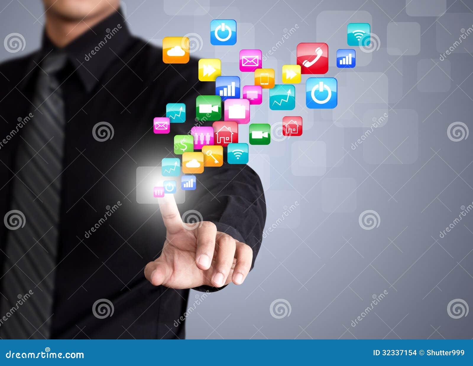 Zakenman wat betreft sociaal netwerkpictogram