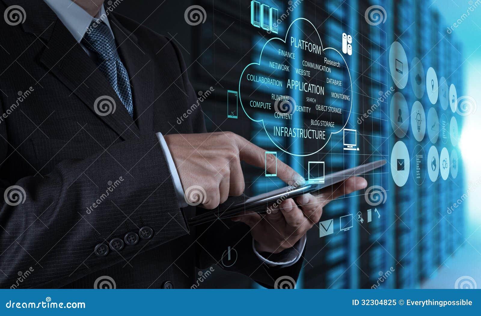 Zakenmanhand die tabletcomputer en serverruimte gebruiken