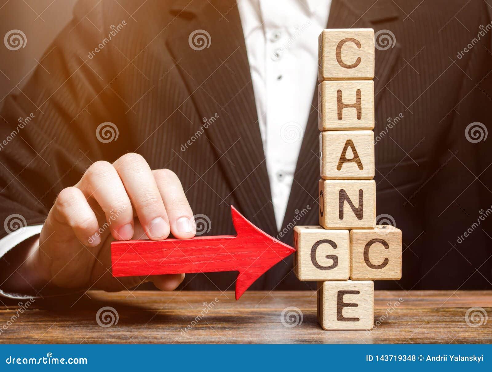 Zakenmanpunten aan houten blokken met de woordverandering in Kans Persoonlijke Ontwikkeling De carrièregroei of veranderings zelf