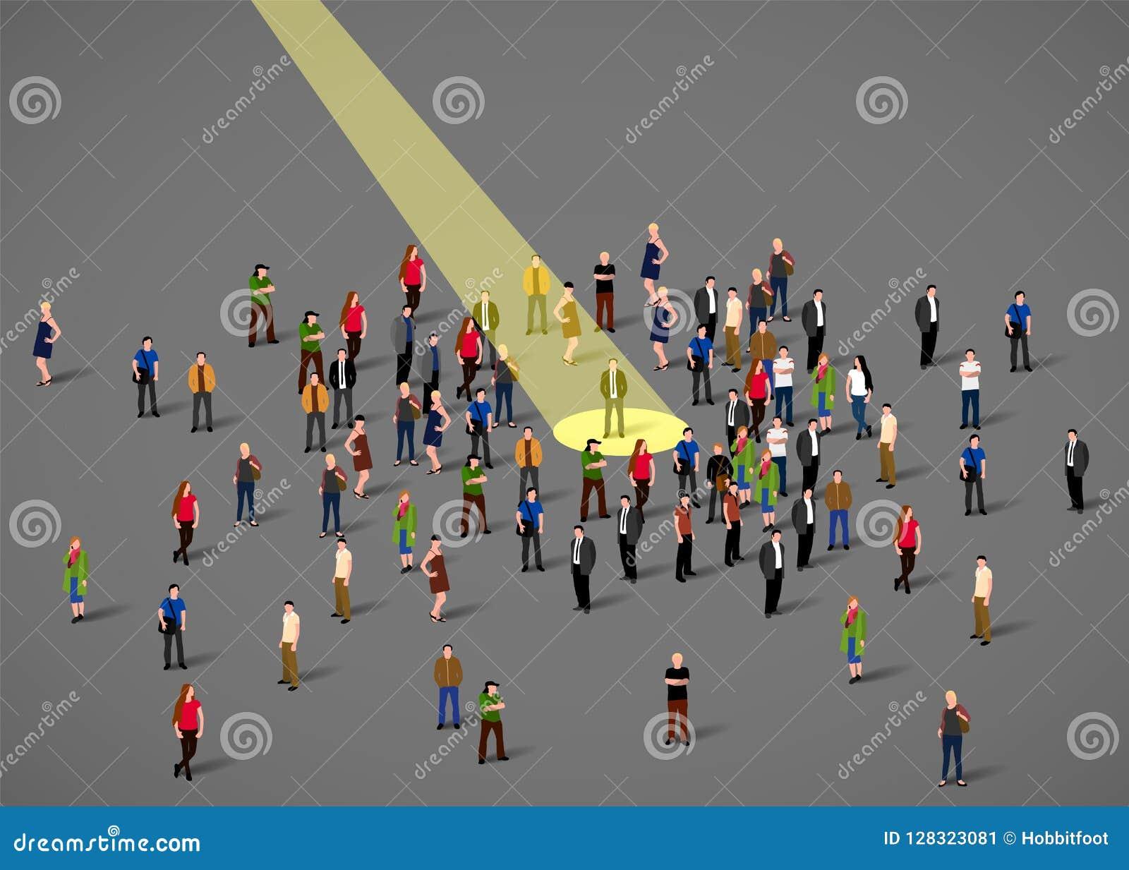 Zakenmanschijnwerper Menselijke hulpbron en rekrutering De bedrijfsmensen huren concept