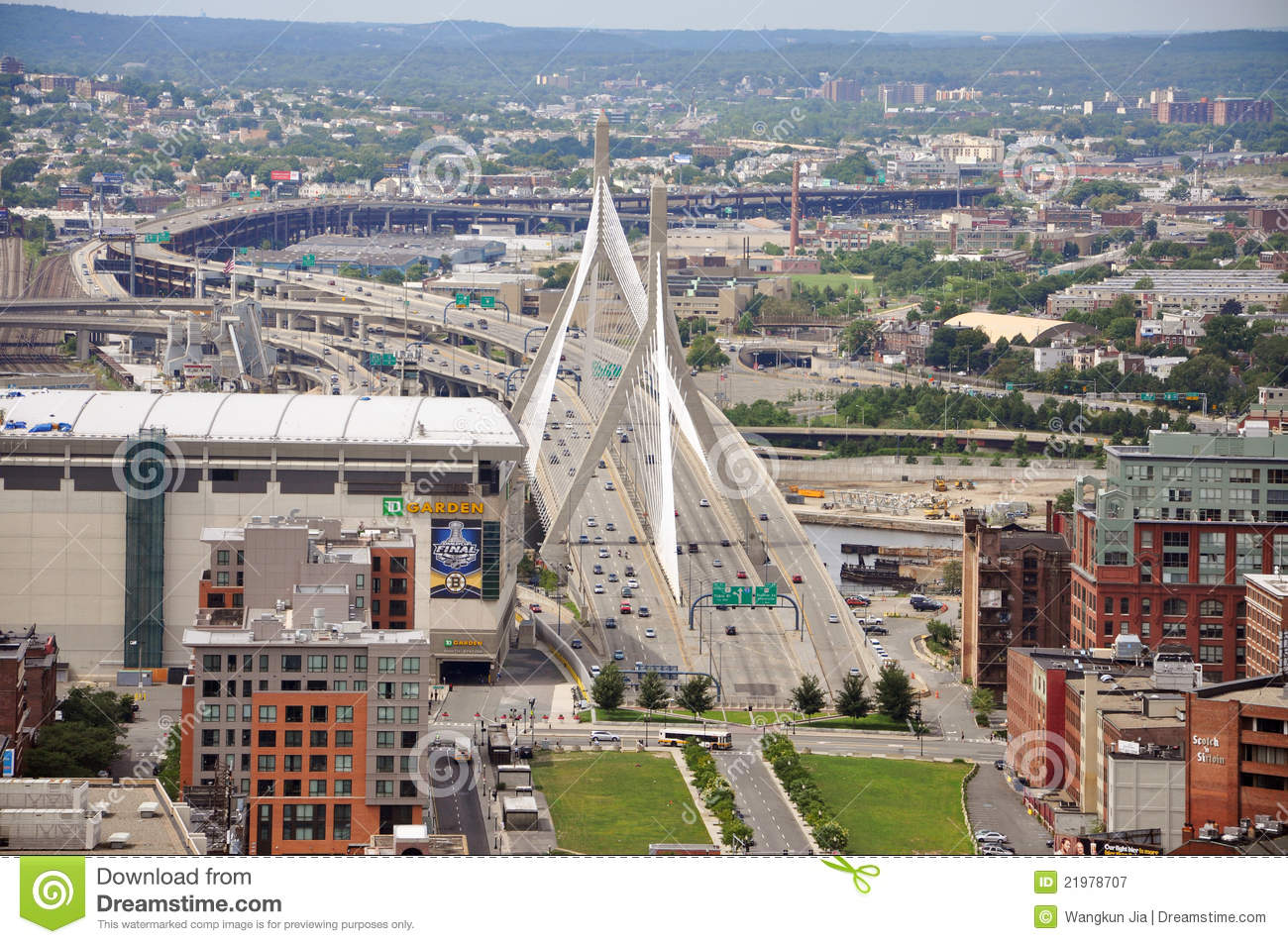 Zakim Bunker Hill Bridge And TD Banknorth Garden Editorial