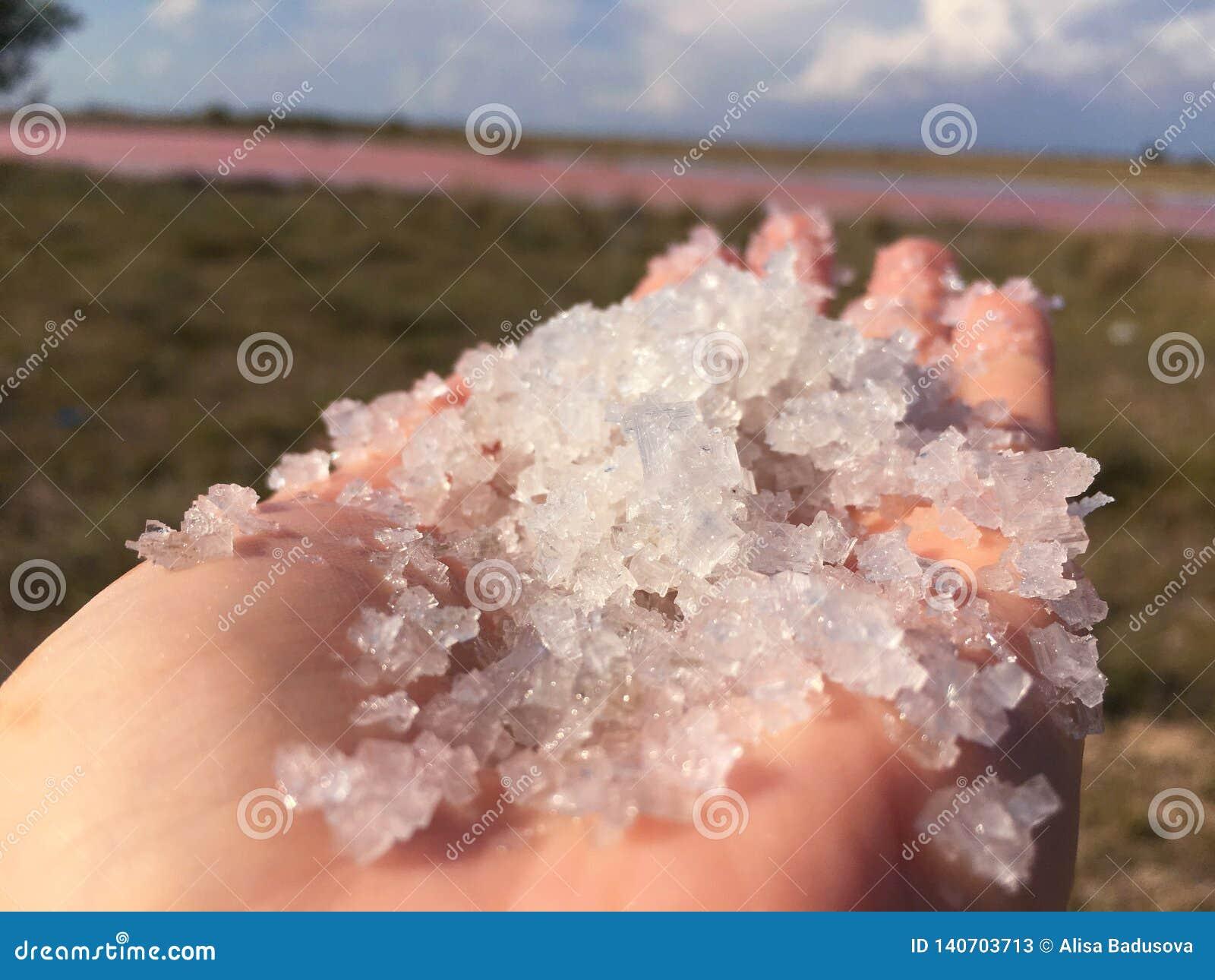 Zakończenie w górę Himalajskich menchii soli kryształ w naturalnym tle
