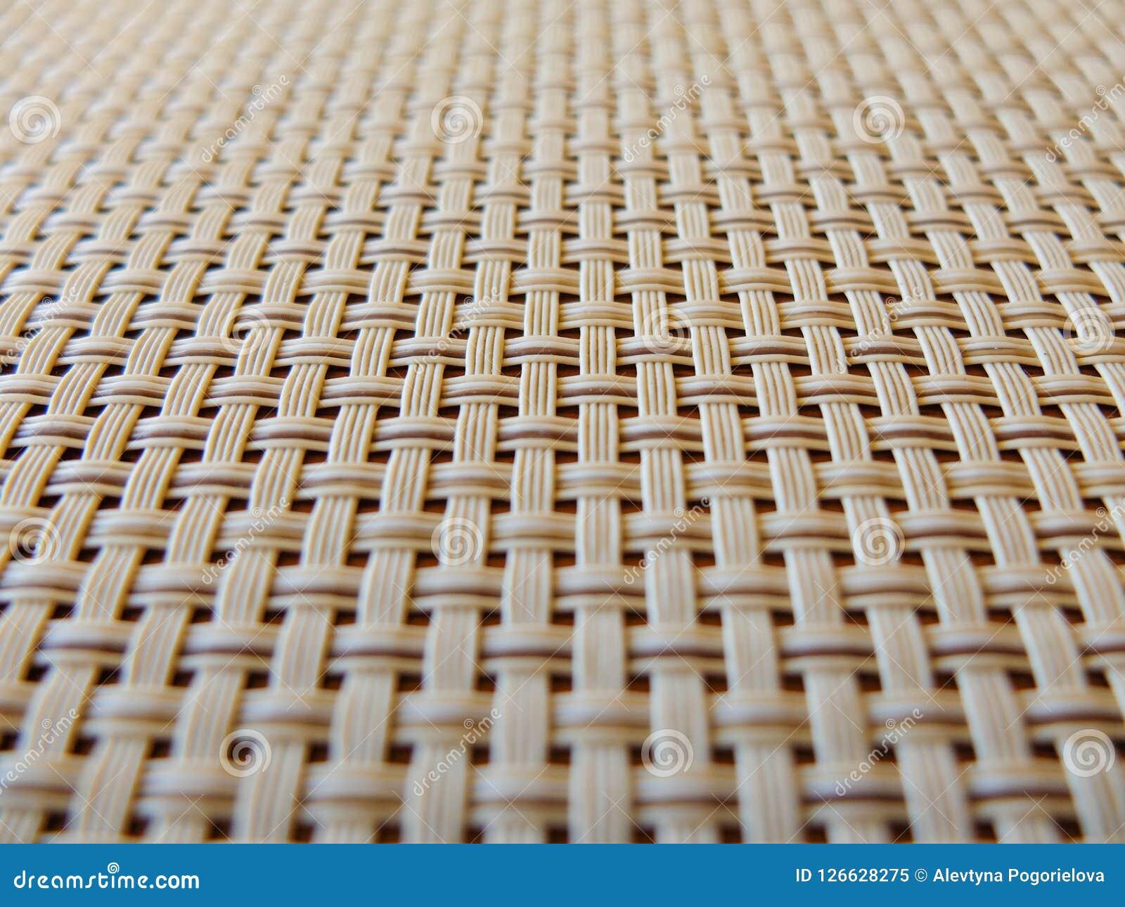 Zakończenie beżowej tkaniny plastikowa kratownica, siatki tekstura; wzór horyzontalne i pionowo przetykać linie może używać jako