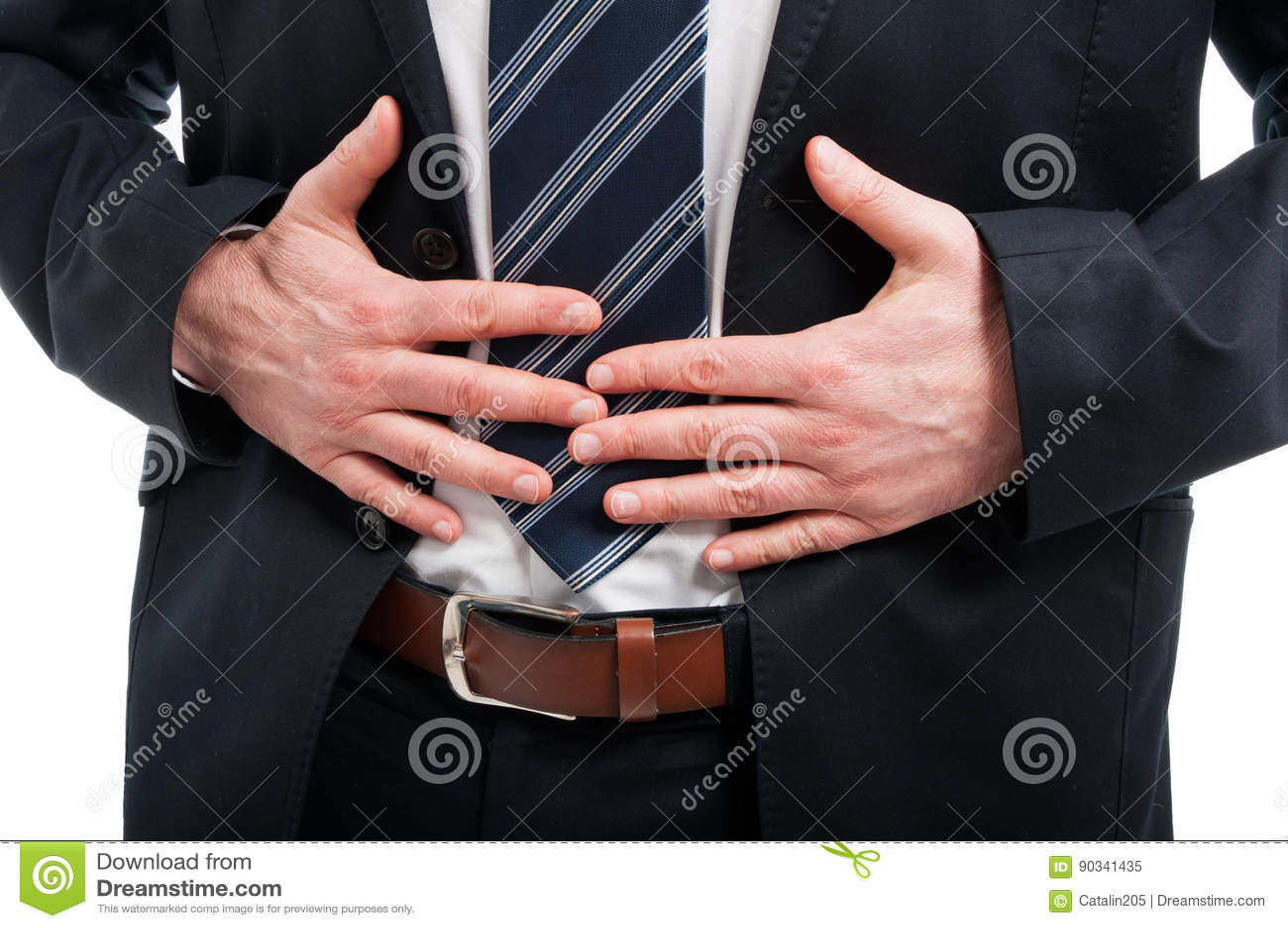 Zakończenie trzyma jego żołądek jak kaleczenie elegancki mężczyzna