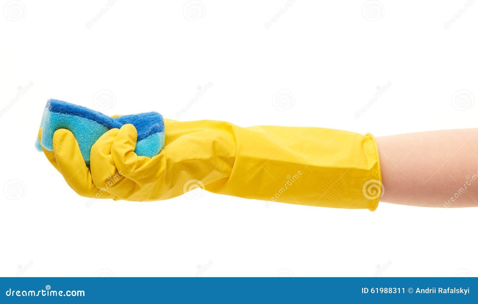 Zakończenie up żeńska ręka w żółtego ochronnego gumowego rękawiczkowego mienia cleaning błękitnej gąbce