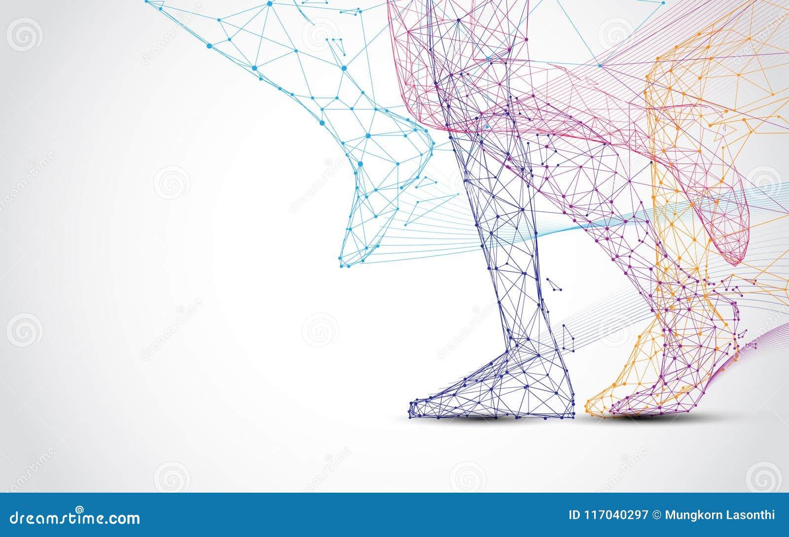 Zakończenie up biegacza s nóg bieg formy trójboki i linie, wskazuje złączoną sieć na błękitnym tle