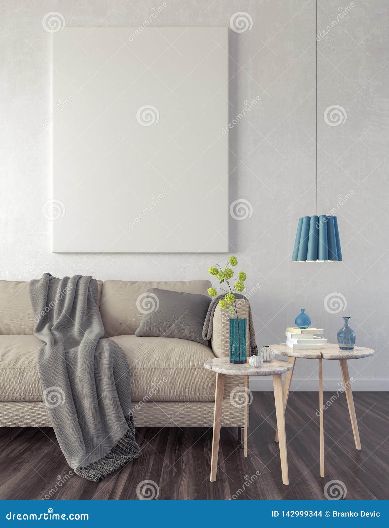 Zakończenie w górę plakata w modnisia żywym izbowym tle 3d odpłaca się