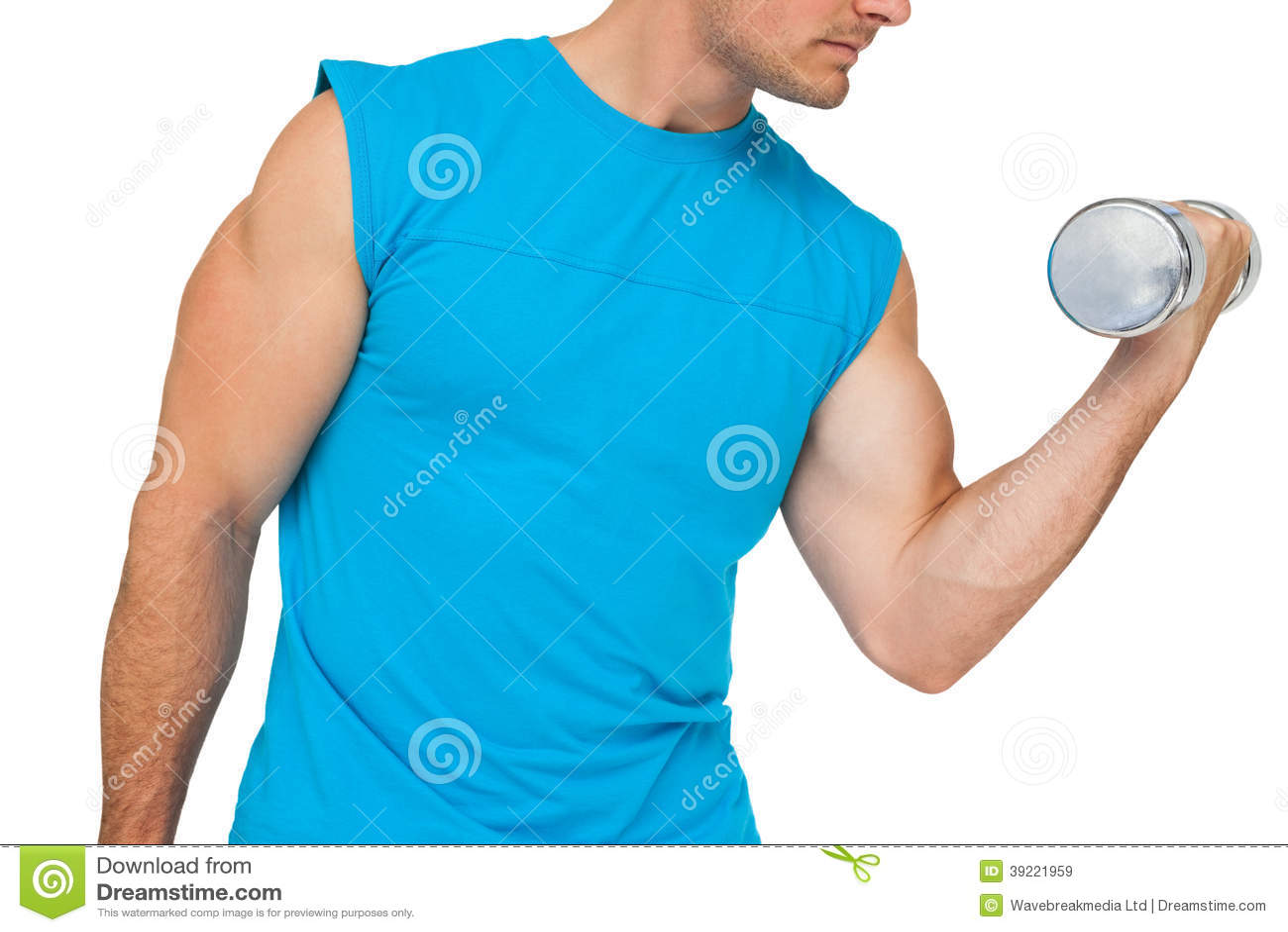 Zakończenie w połowie sekcja ćwiczy z dumbbell dysponowany mężczyzna