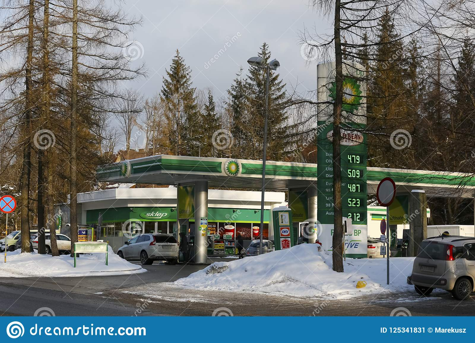 Winter View Towards BP Gas Station In Zakopane Editorial