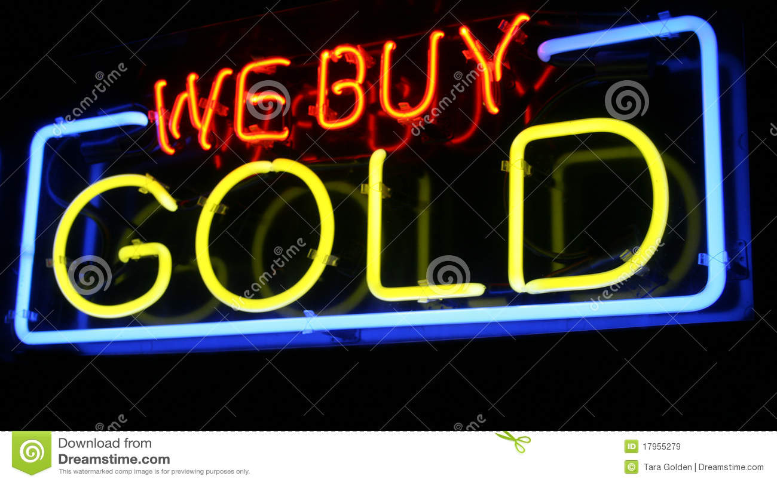 Zakupu znak złocisty neonowy