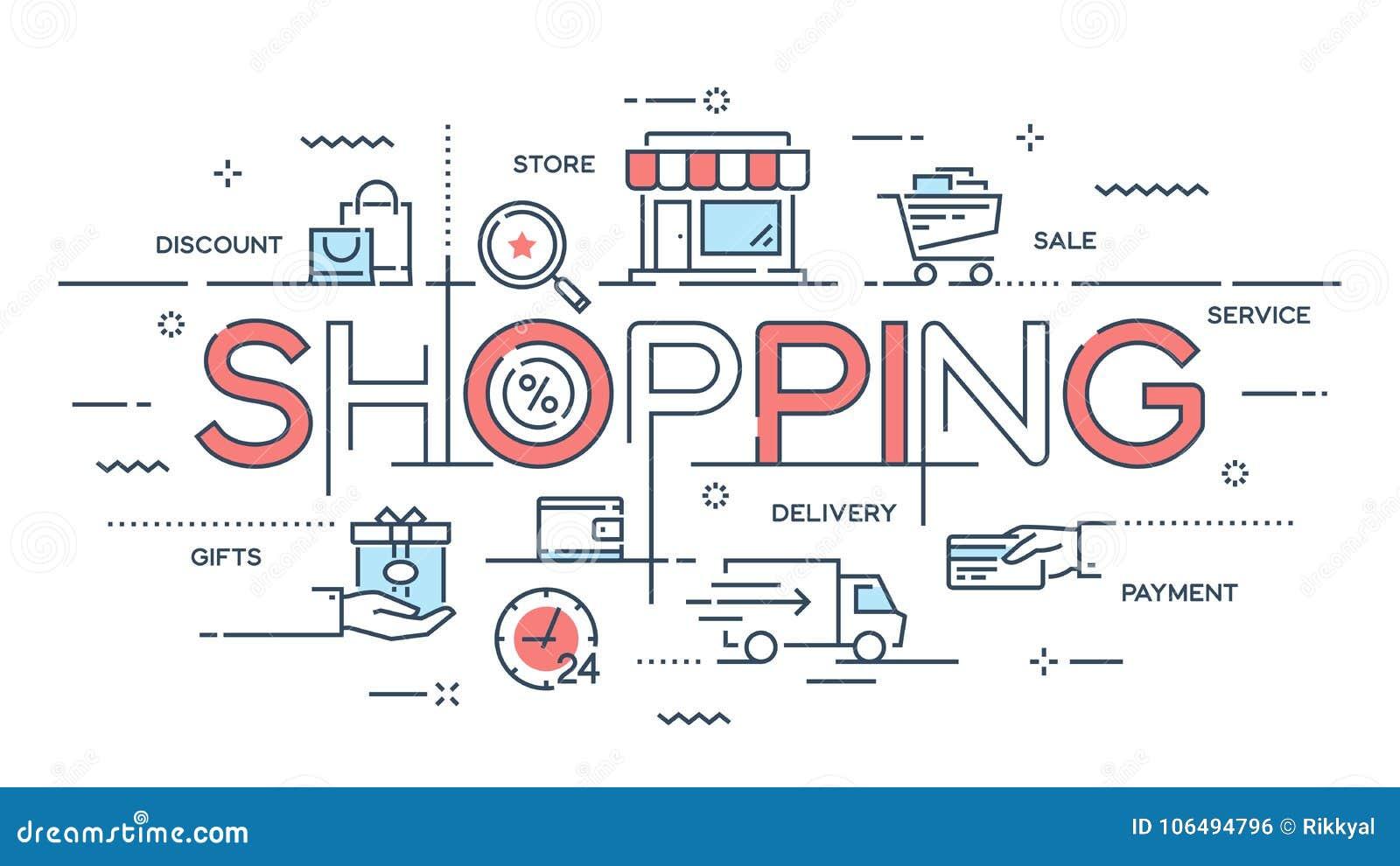 Zakupy, handel elektroniczny, handel detaliczny, sprzedaż, doręczeniowej usługa cienka linia c
