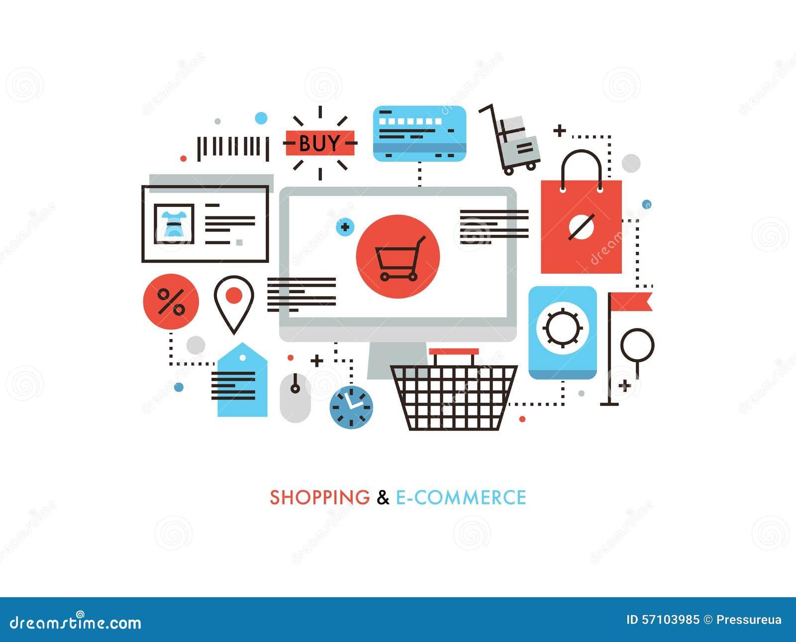 Zakupy i handel elektroniczny płaska kreskowa ilustracja