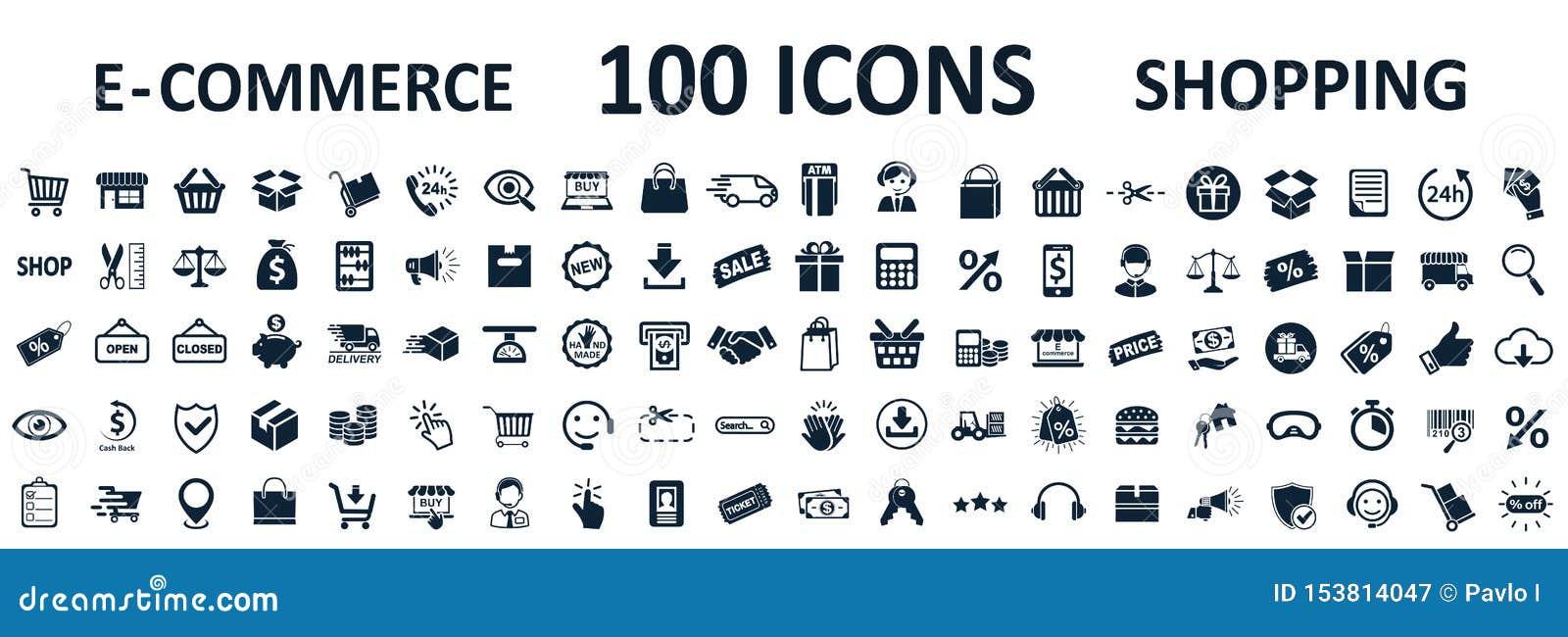 Zakupy ikony 100, setu sklepu znaka handel elektroniczny dla sieć rozwoju apps i strony internetowe, - wektor