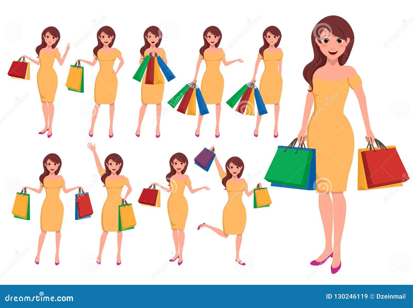 Zakupy kobiety wektorowy charakter - set Mod dziewczyn postacie z kreskówki