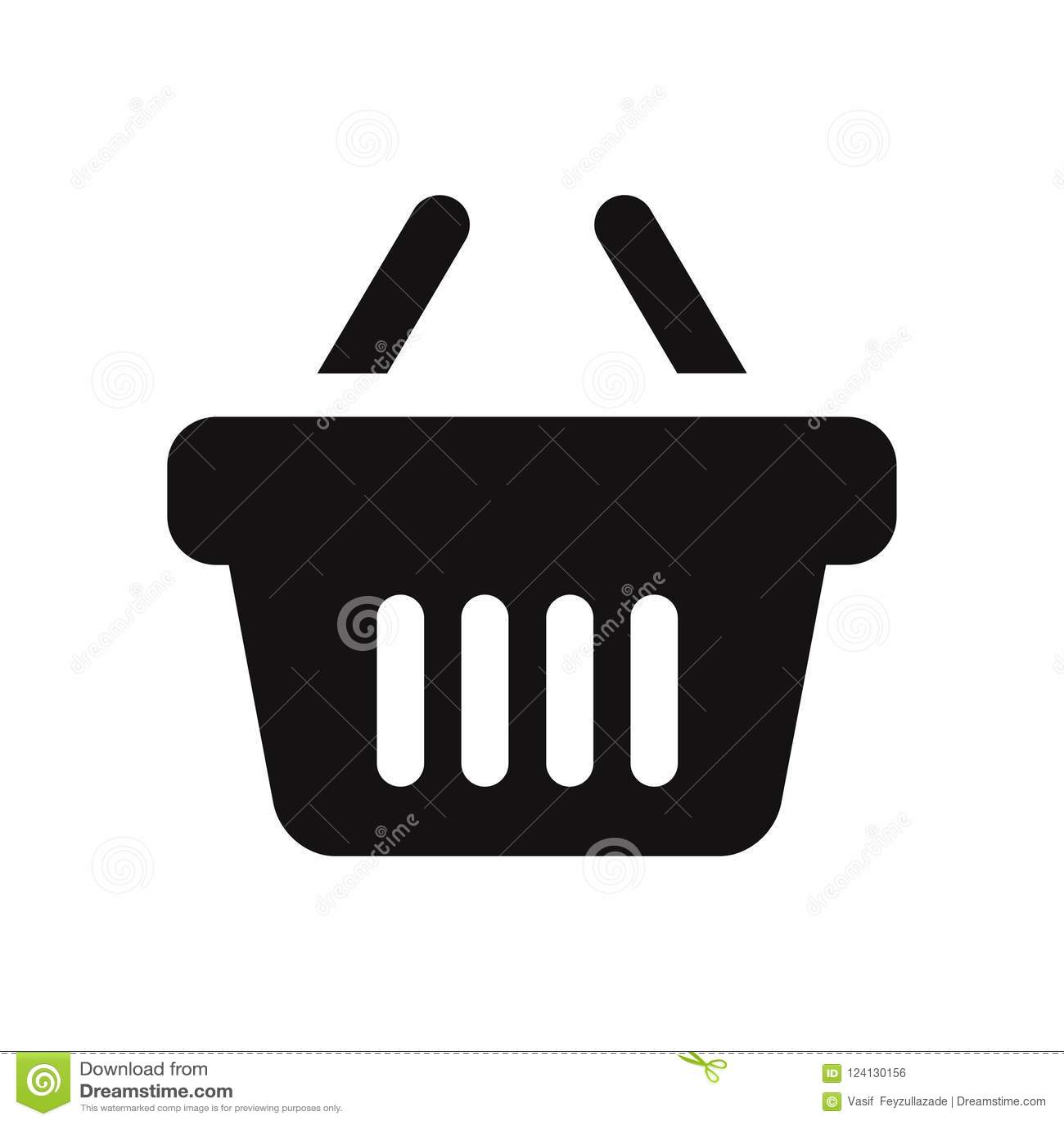 Zakupy kosza wektorowa ikona odizolowywająca na białym tle