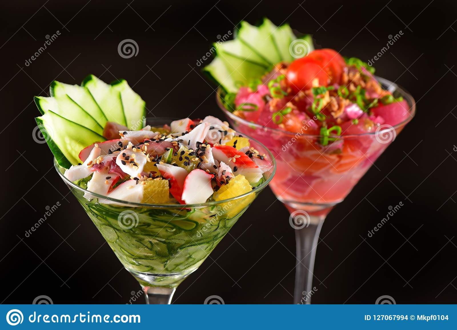 Zalm en krab ceviche glazen