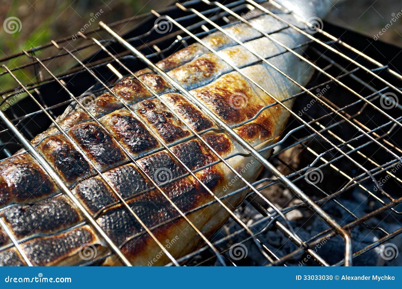 Zalm het koken op een grill