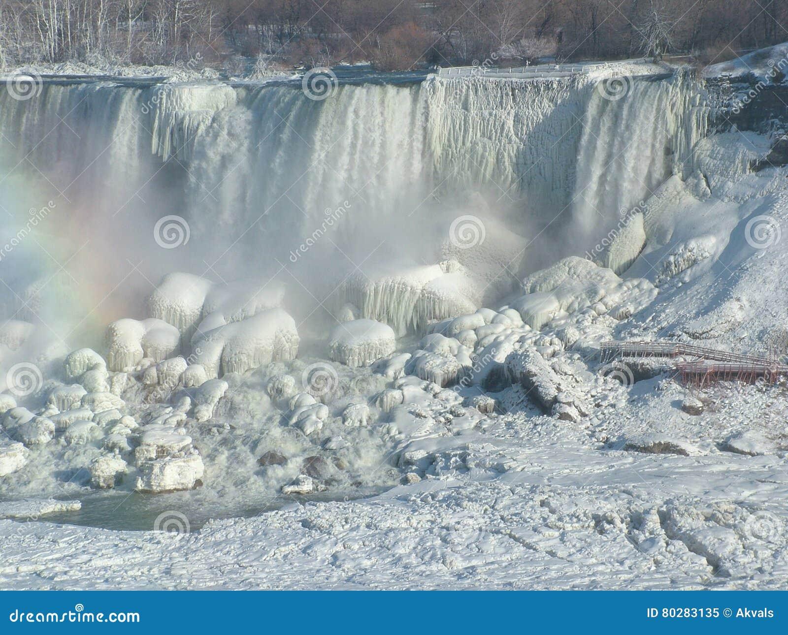 Zamarznięci amerykanina Niagara spadki, usa