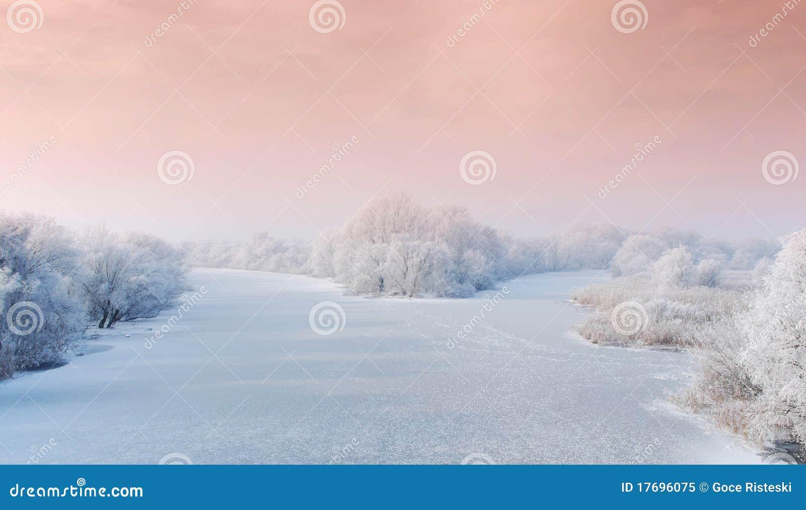 Zamarznięta krajobrazowa rzeczna zima