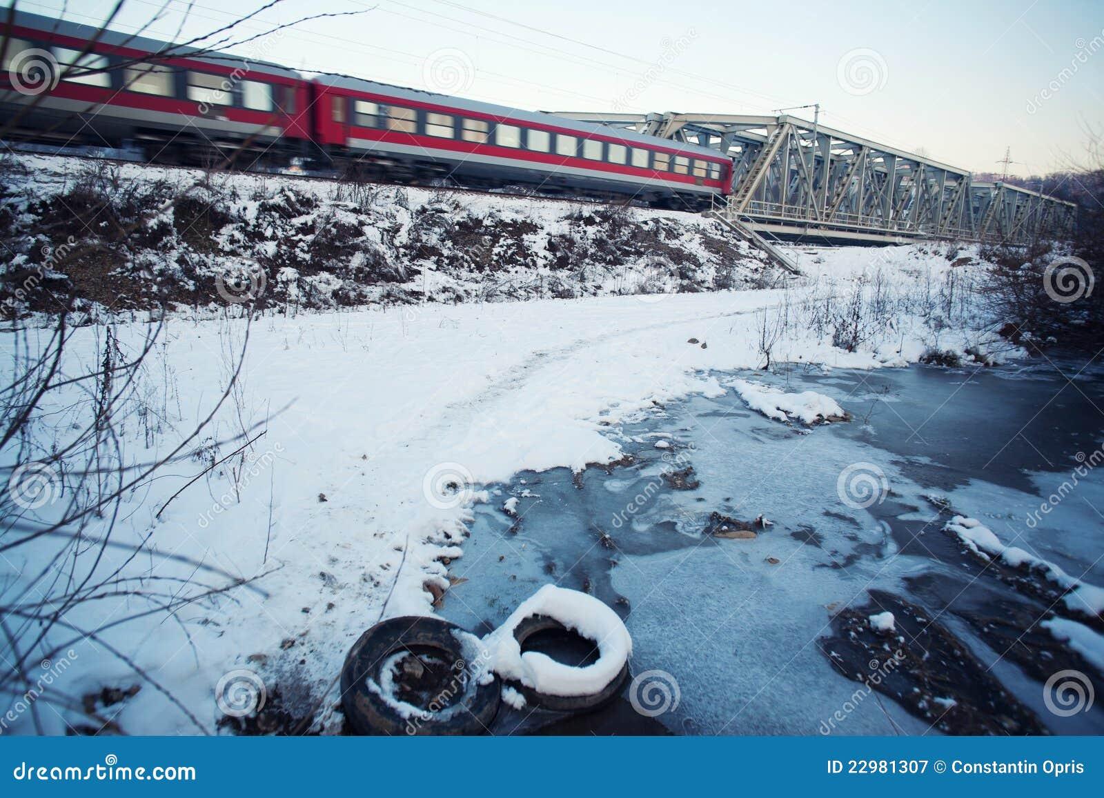 Zamarznięta krajobrazowa zima