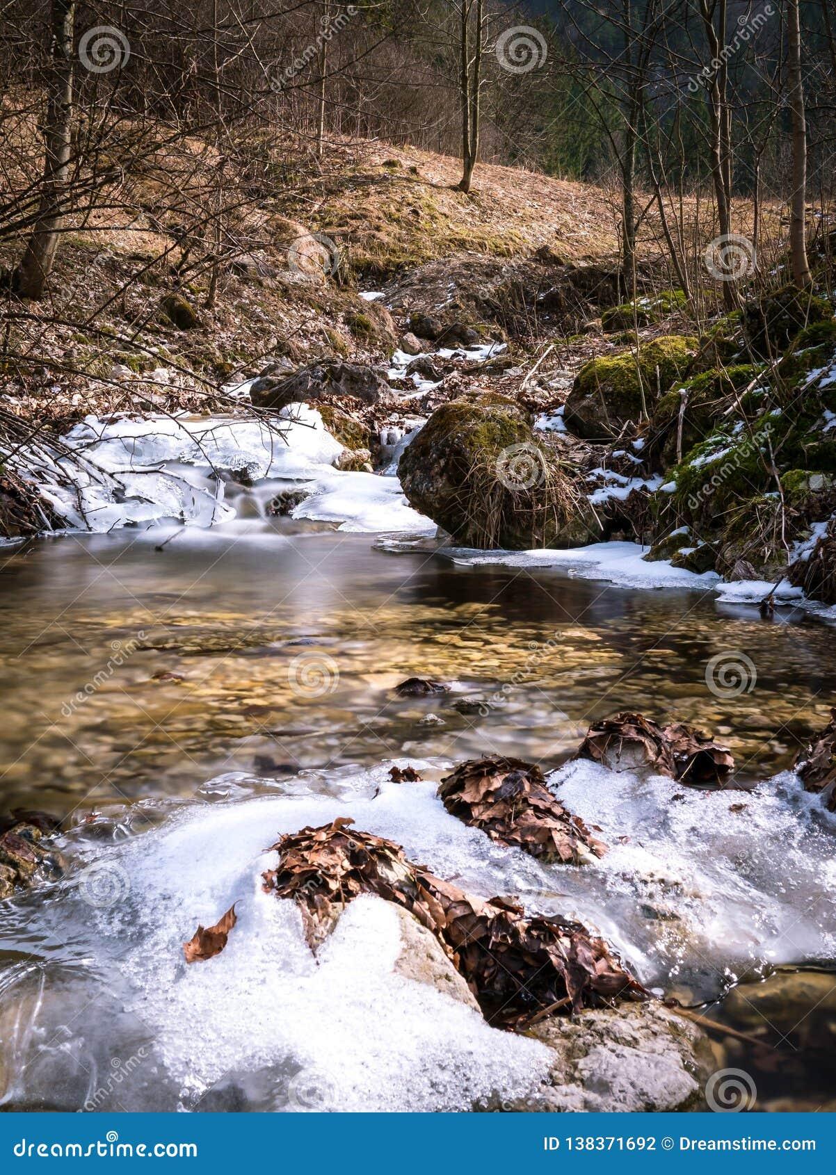 Zamarznięta rzeka przy wiosną