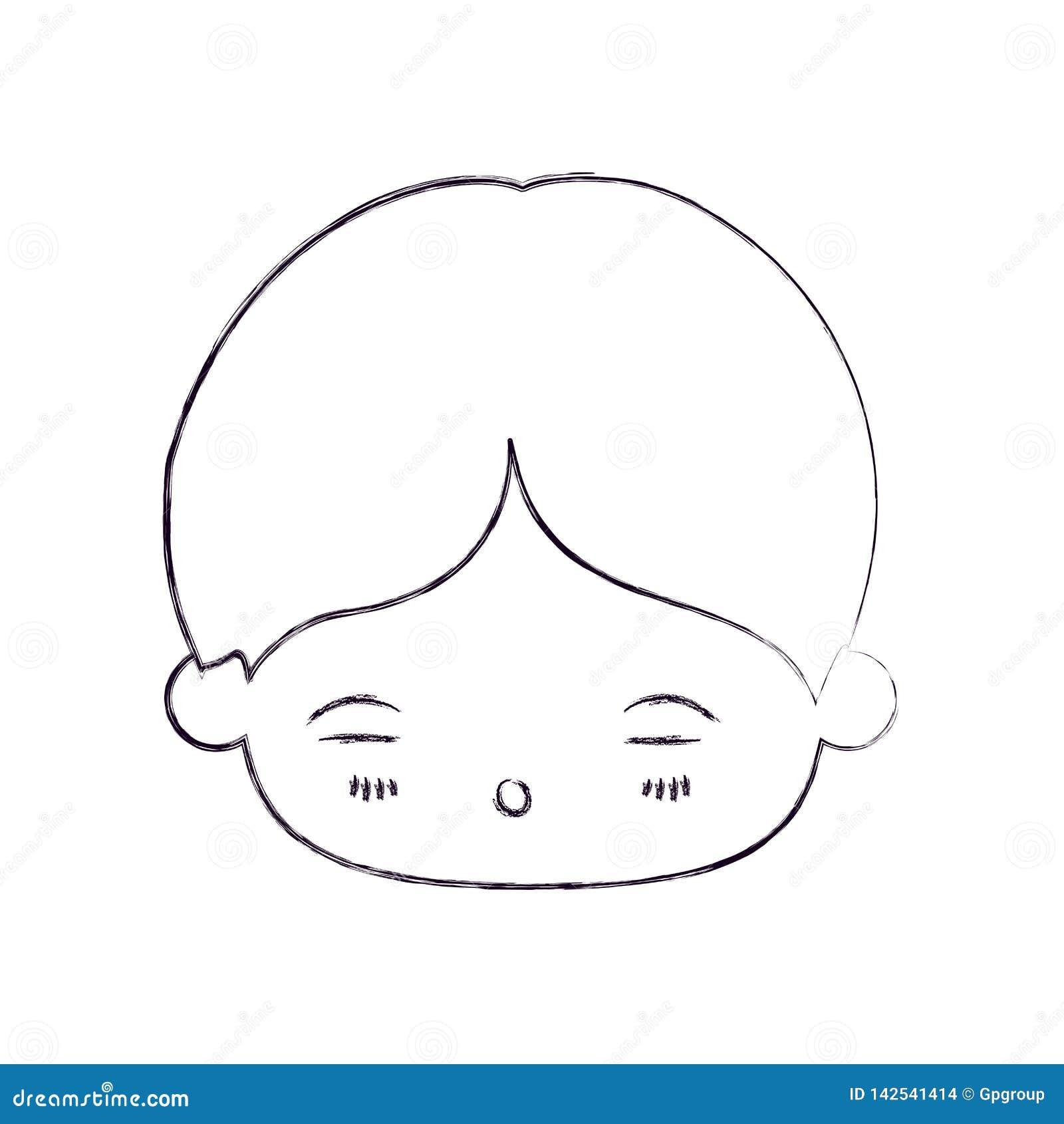 Zamazana cienka sylwetka kawaii głowa chłopiec z wyrazem twarzy zmęczony