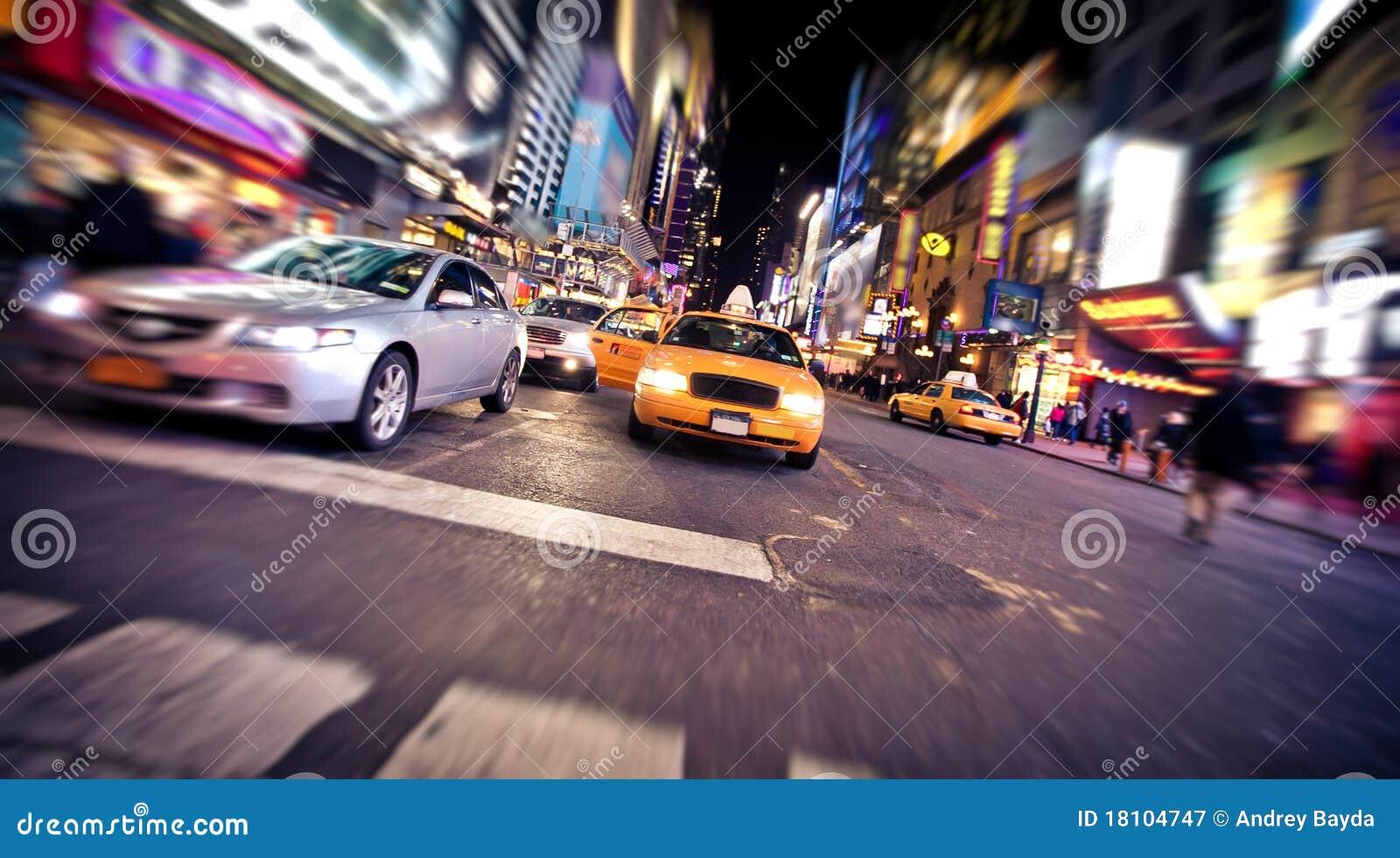 Zamazanego taksówki wizerunku nowy taxi kolor żółty York