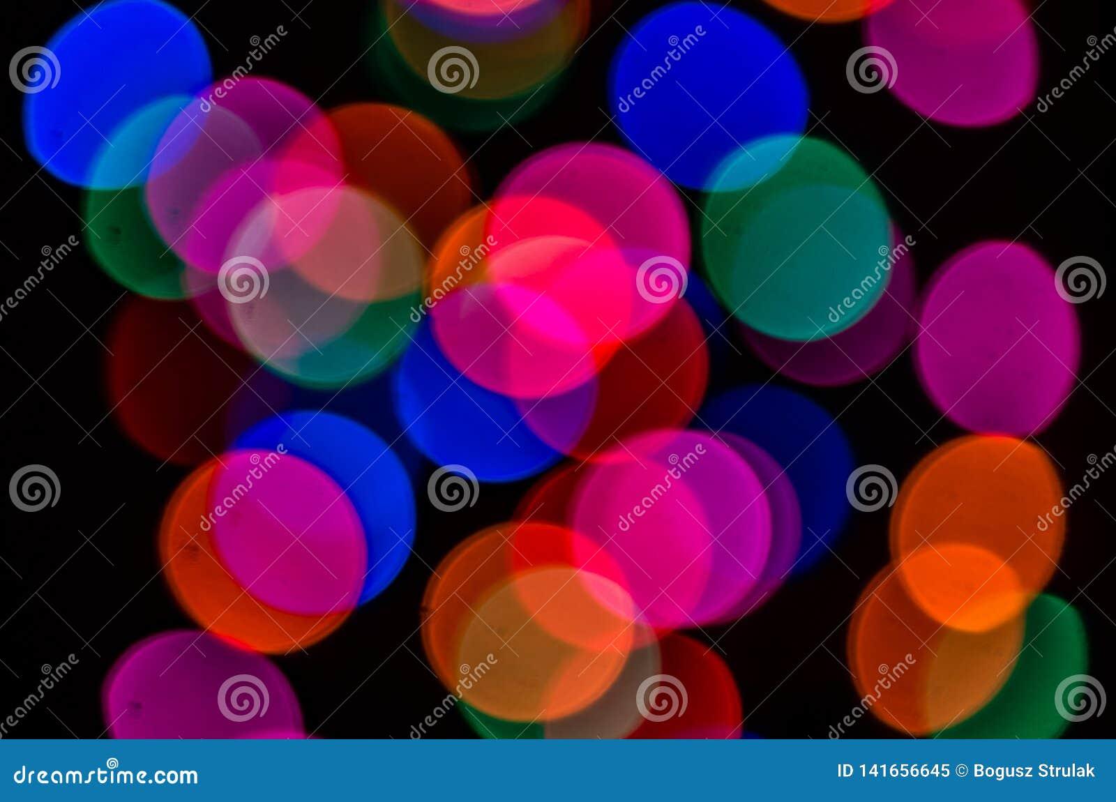 Zamazani kolorowi i jaskrawi światła, piękny bokeh
