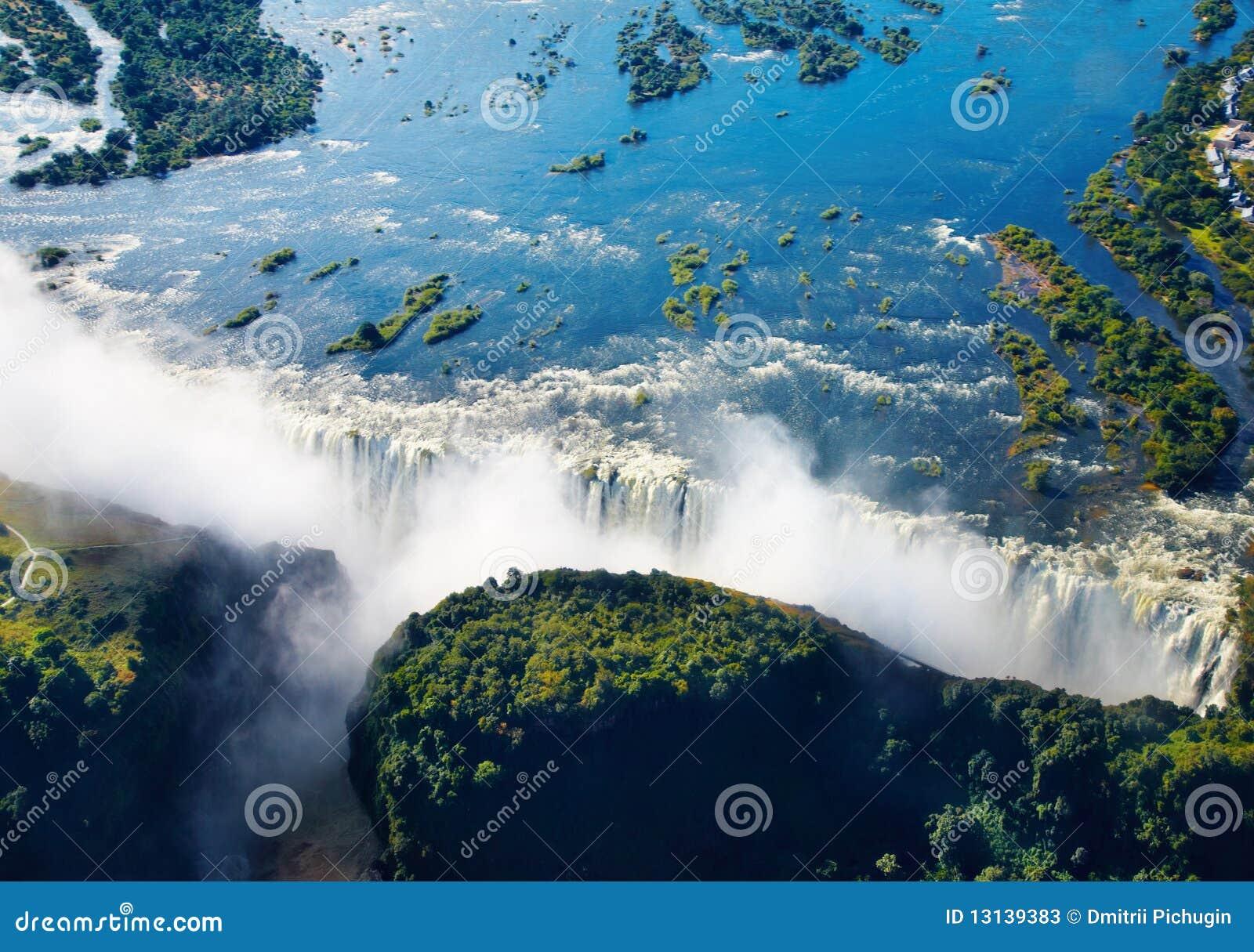 Zambezi river and victoria falls aerial view