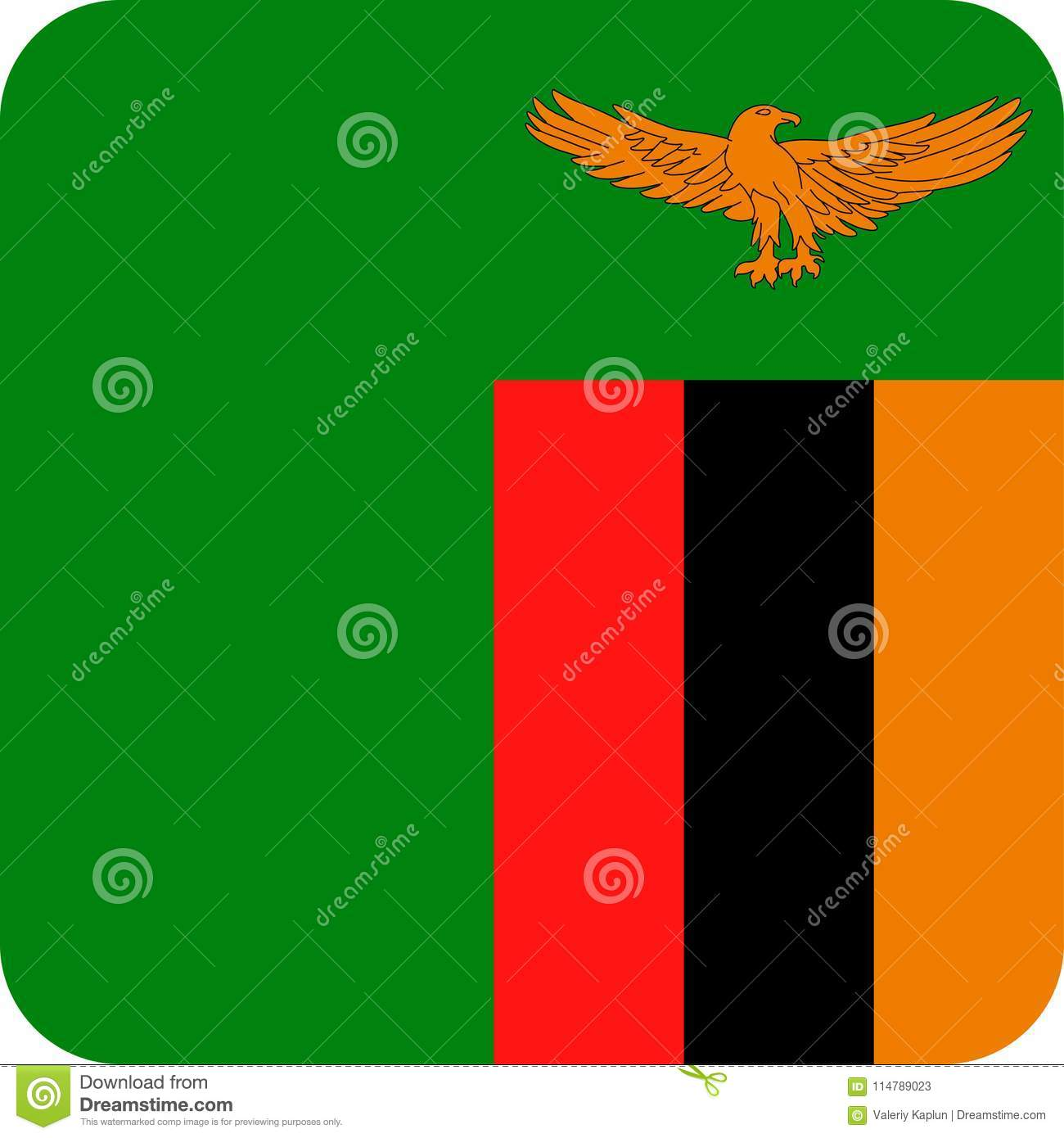 Zambia Flag Vector Square Flat Icon Stock Illustration
