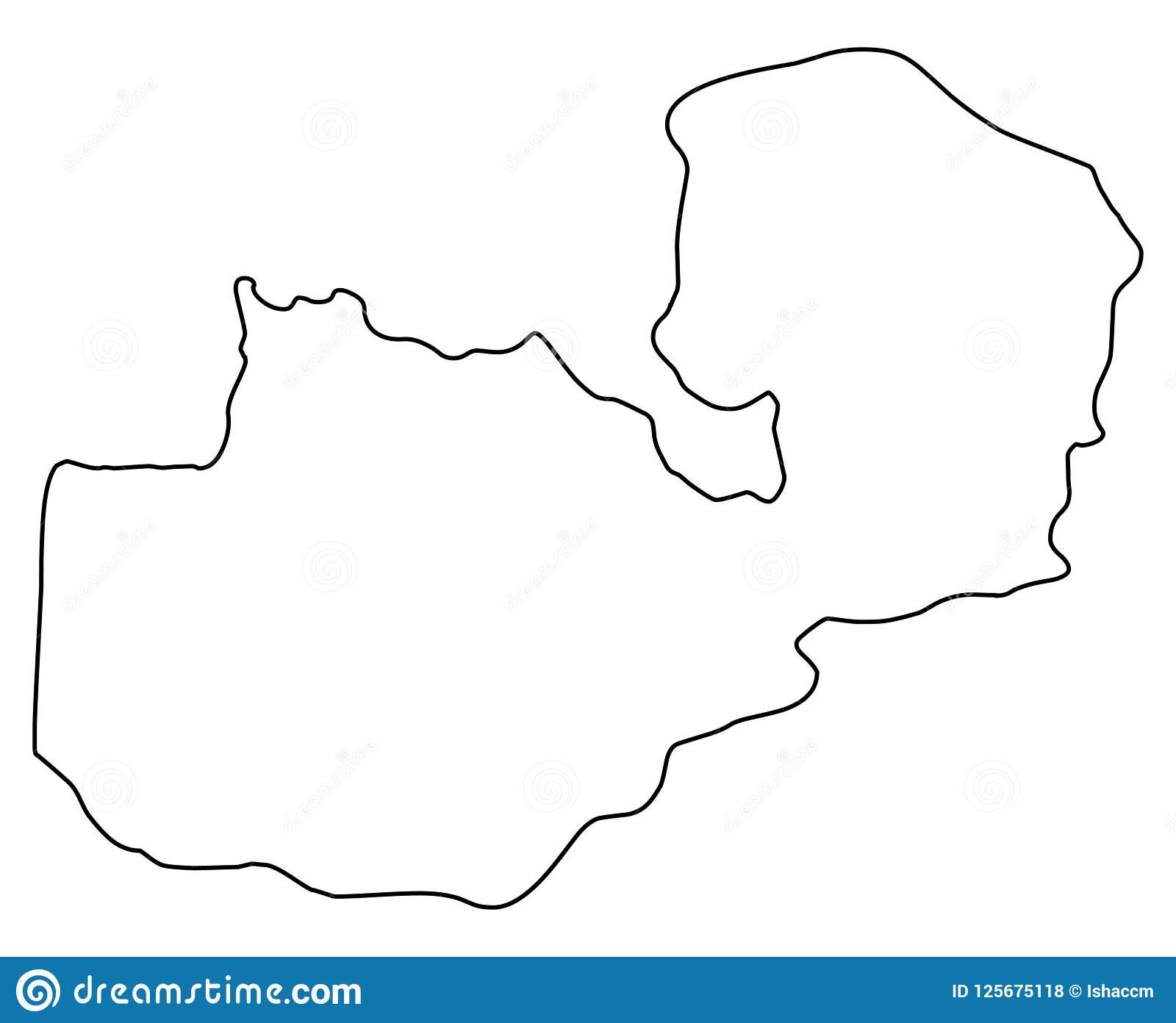 Zambian Map Vector.Zambia Map Outline Vector Illustration Stock Vector