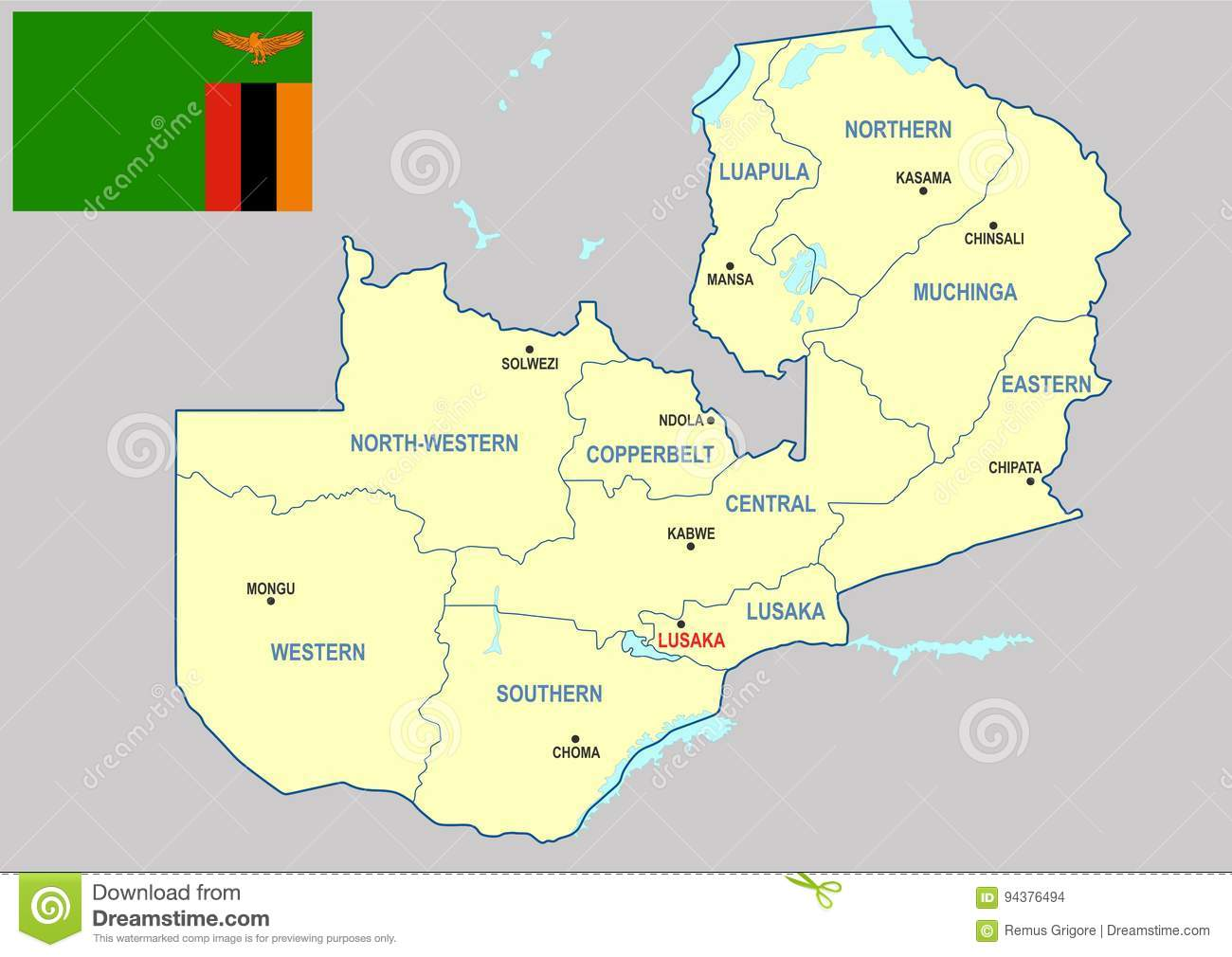Map Of Zambia Showing Provinces.Zambia Map Cdr Format Stock Vector Illustration Of Africa
