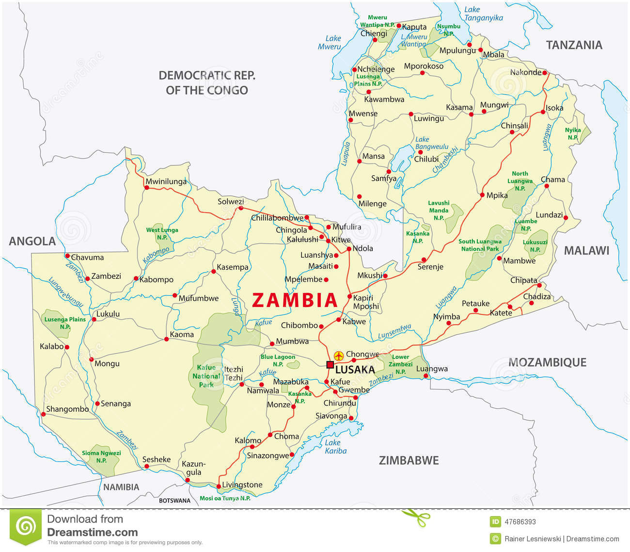Zambia Road And National Park Map Stock Vector Image - Zambia map
