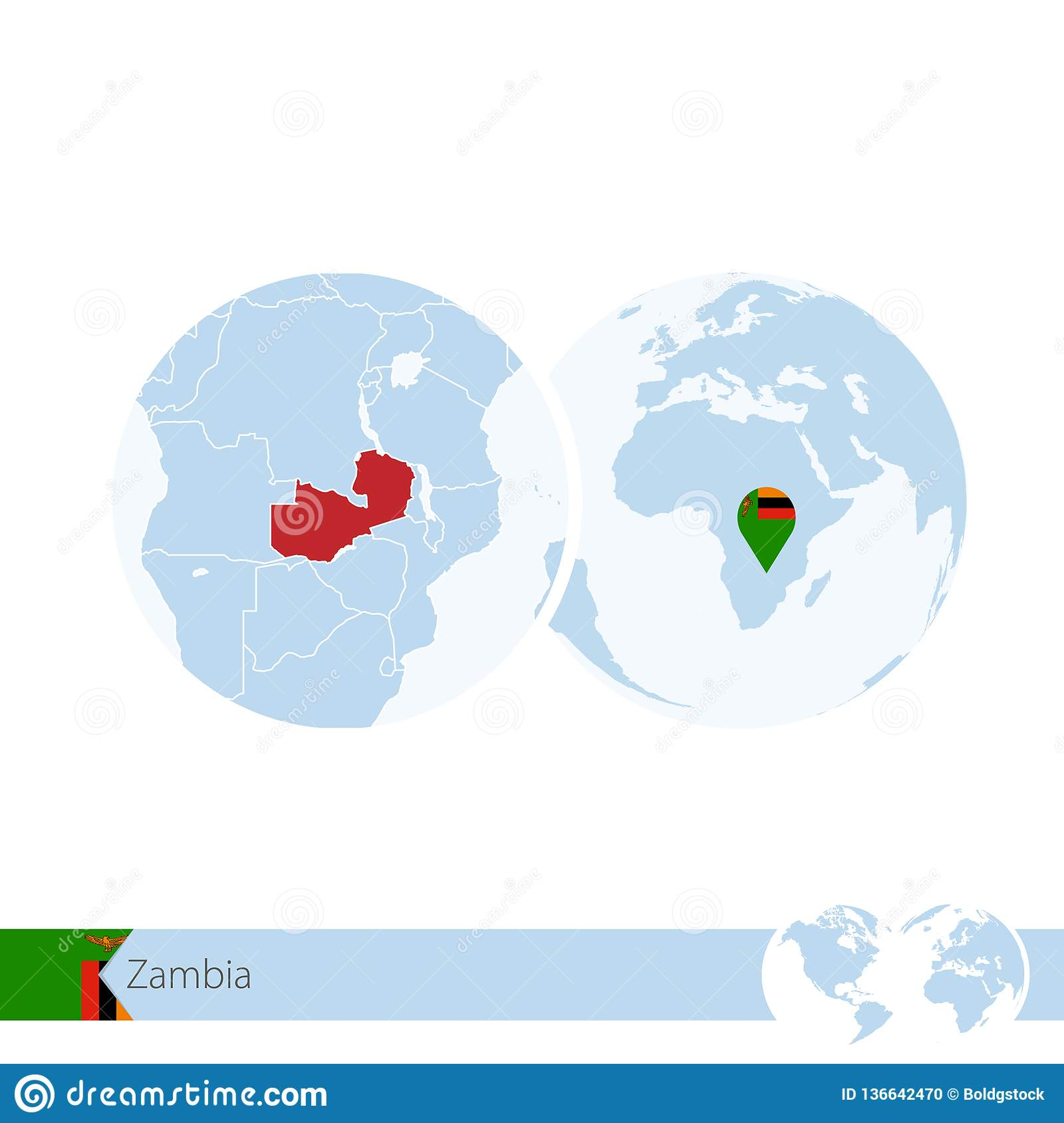 Zambia On World Globe With Flag And Regional Map Of Zambia Stock ...