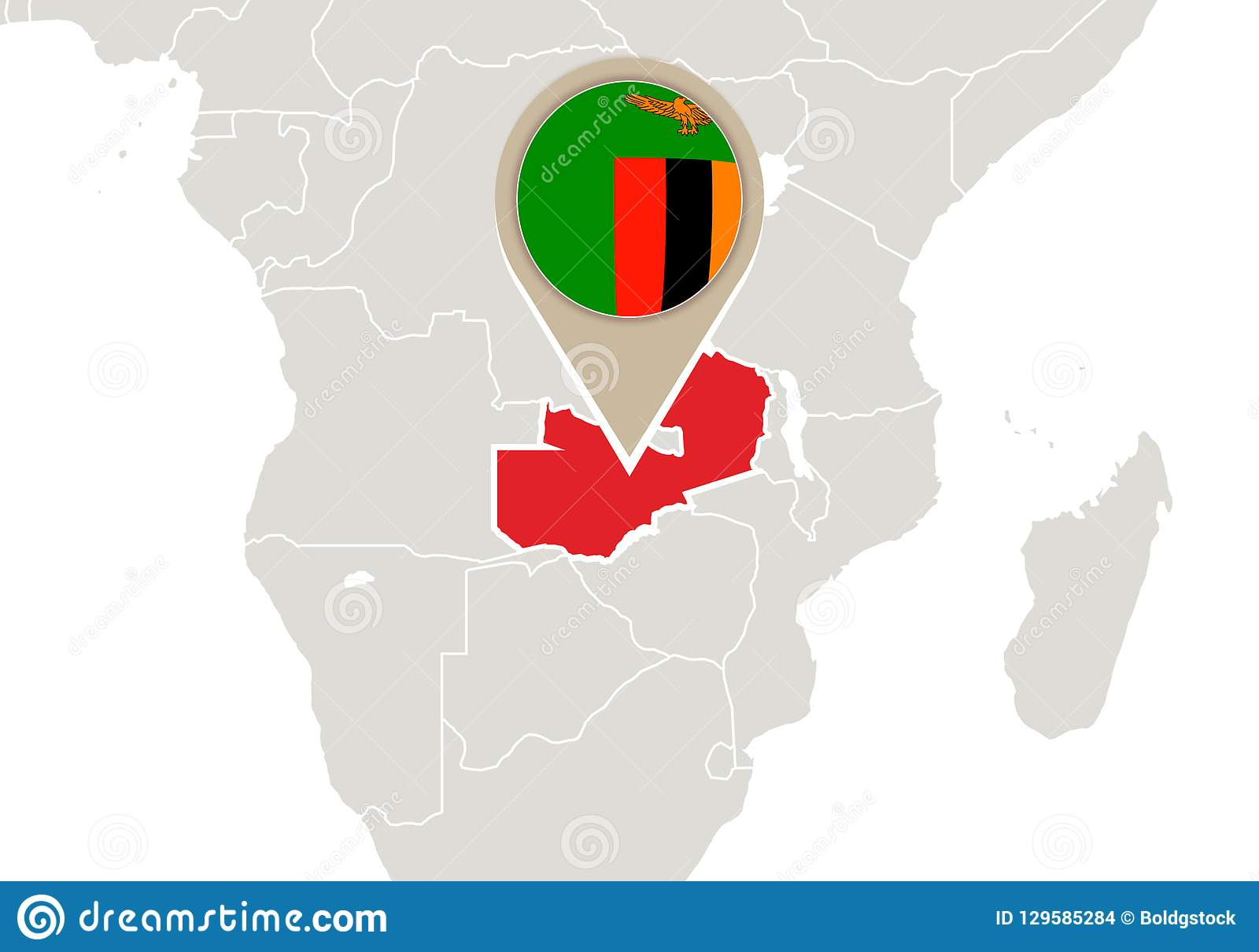 Zambia on World map stock vector. Illustration of ...