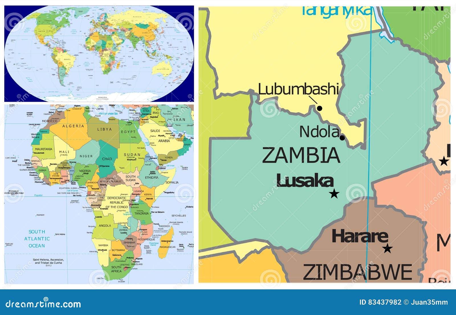 Zambia & World stock illustration. Illustration of antarctic - 83437982