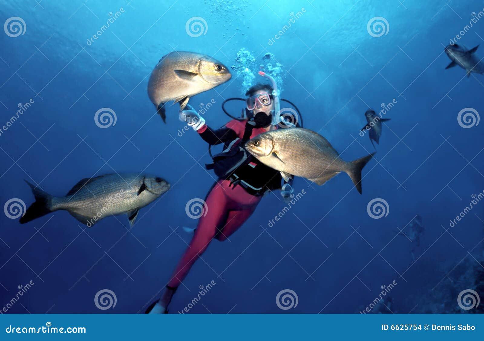 Zambullidor de equipo de submarinismo de la mujer en Cozumel
