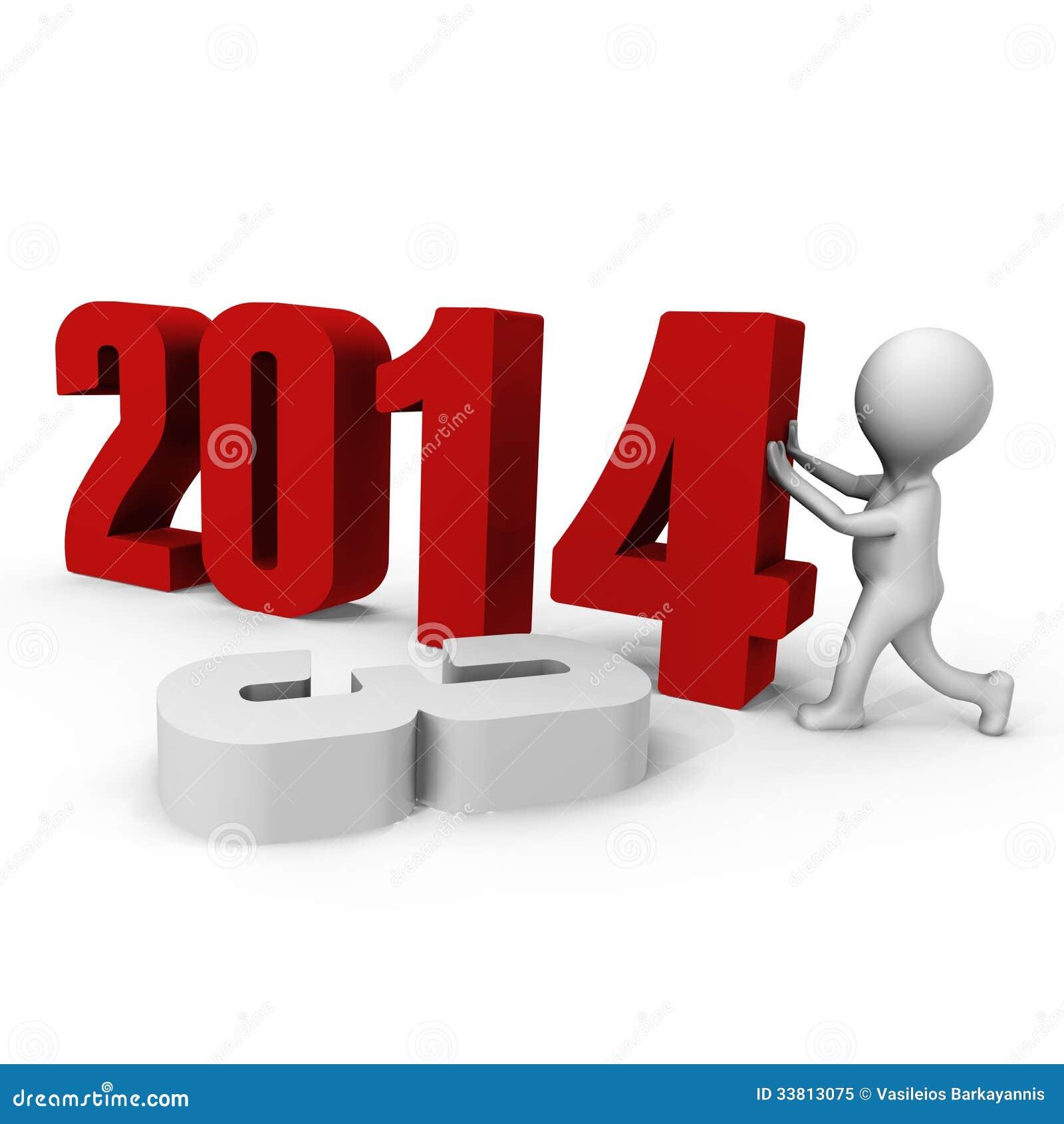 Zamieniający liczbę tworzyć nowego roku 2014 - 3d ima